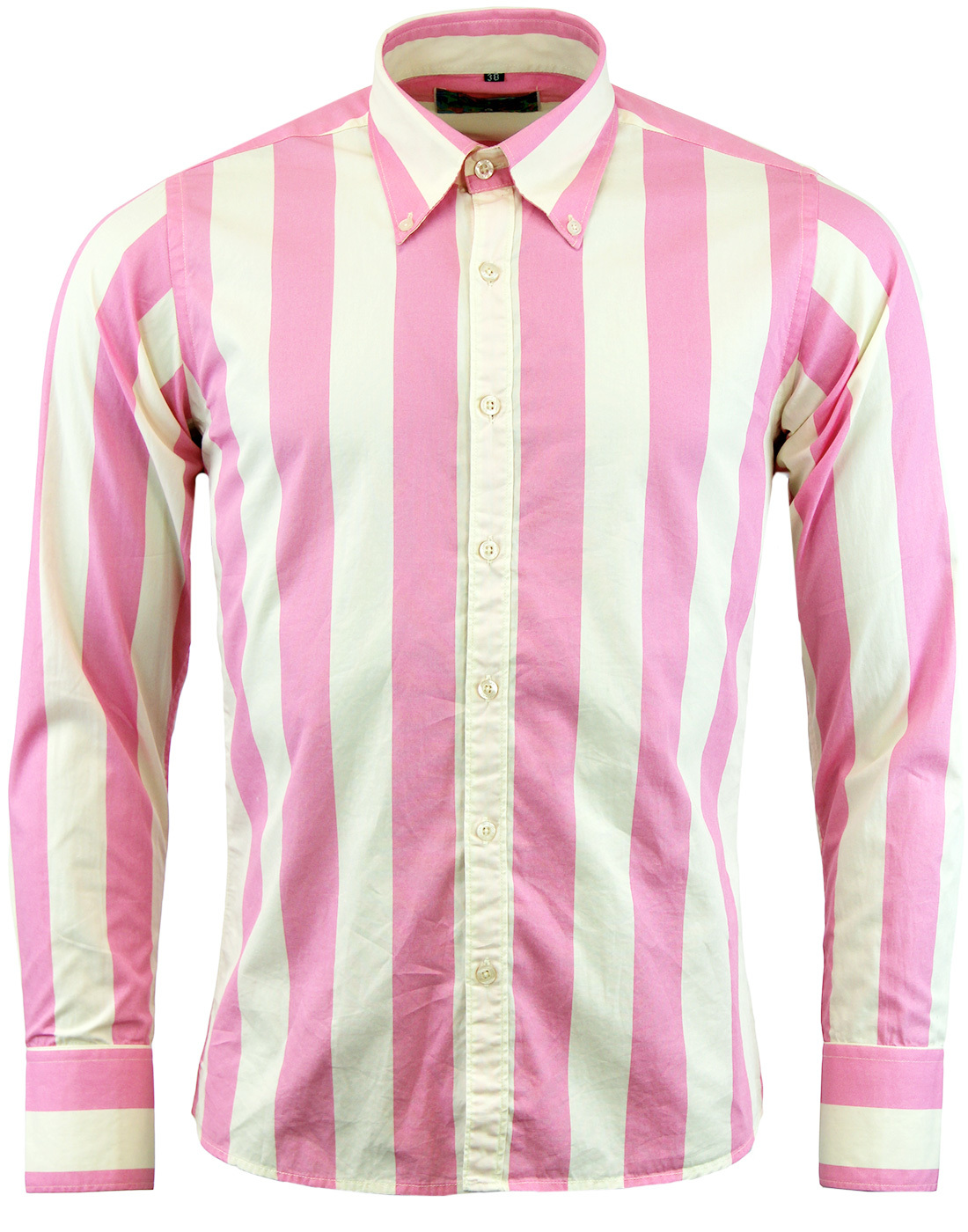 Madcap england eton retro 1960s mod candy stripe shirt in pink for Pink and purple striped rugby shirt