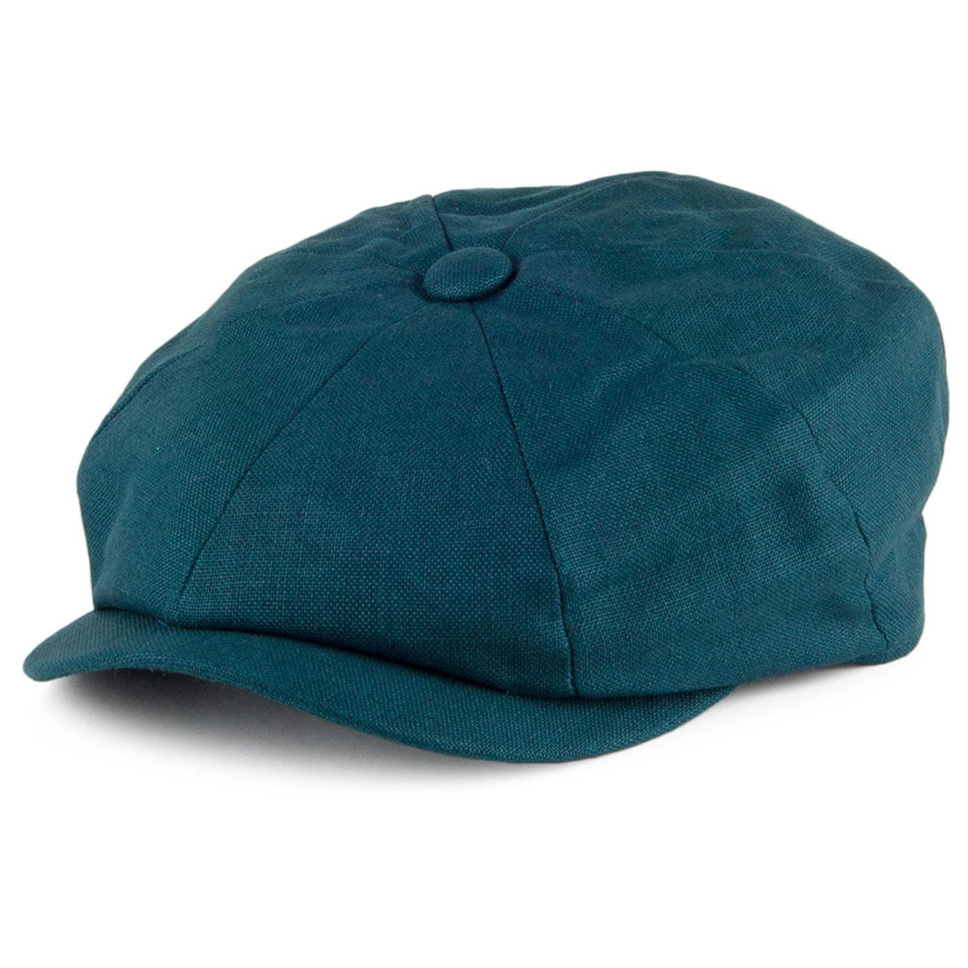 FAILSWORTH Retro Irish Linen Gatsby Hat (Petrol)