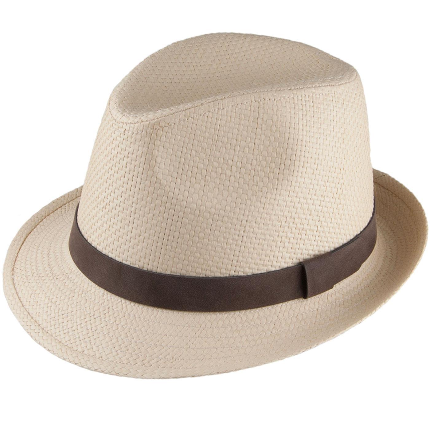 FAILSWORTH Men's Retro 70s Straw Trilby Hat (Dove)