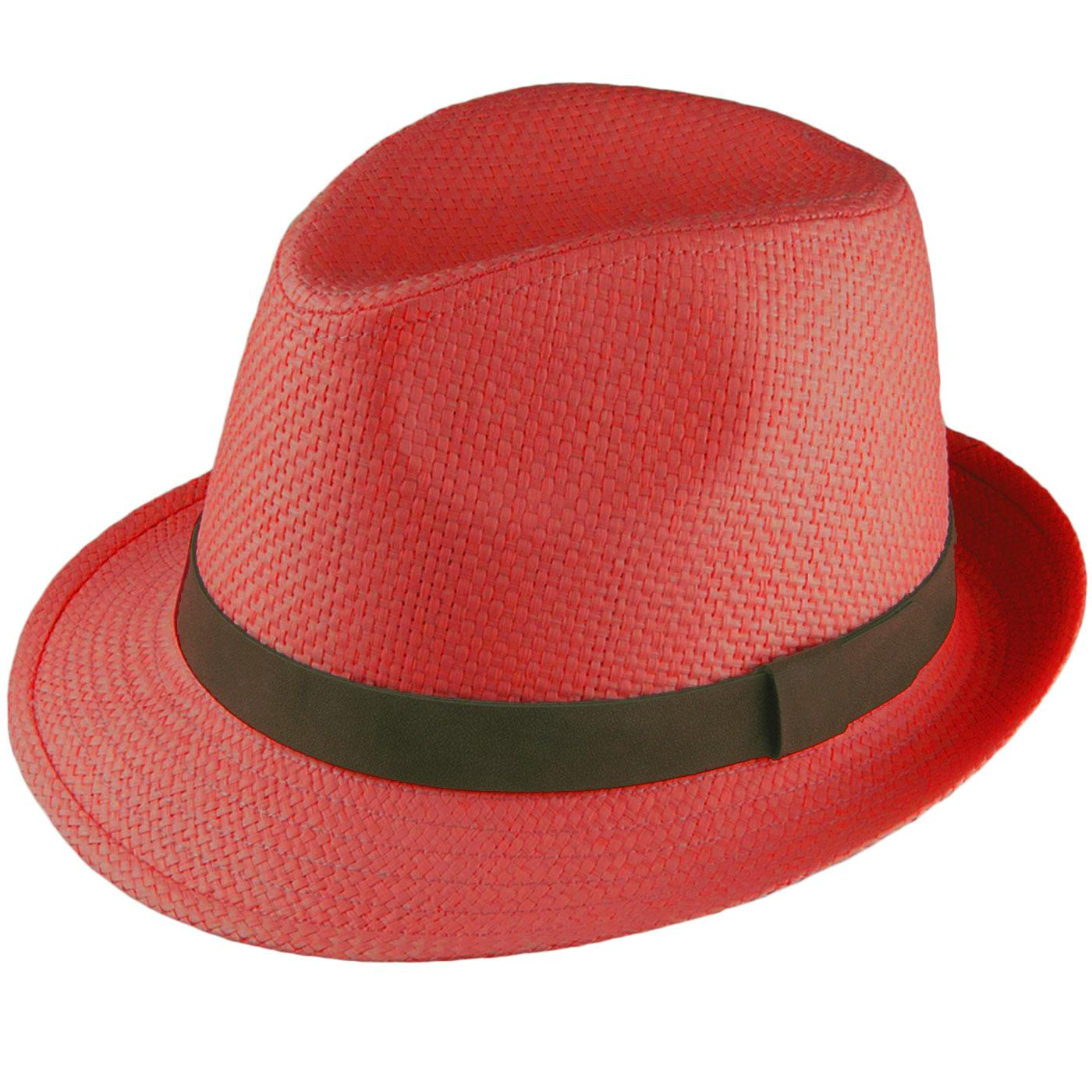 FAILSWORTH Men's Retro 70s Straw Trilby Hat (Red)
