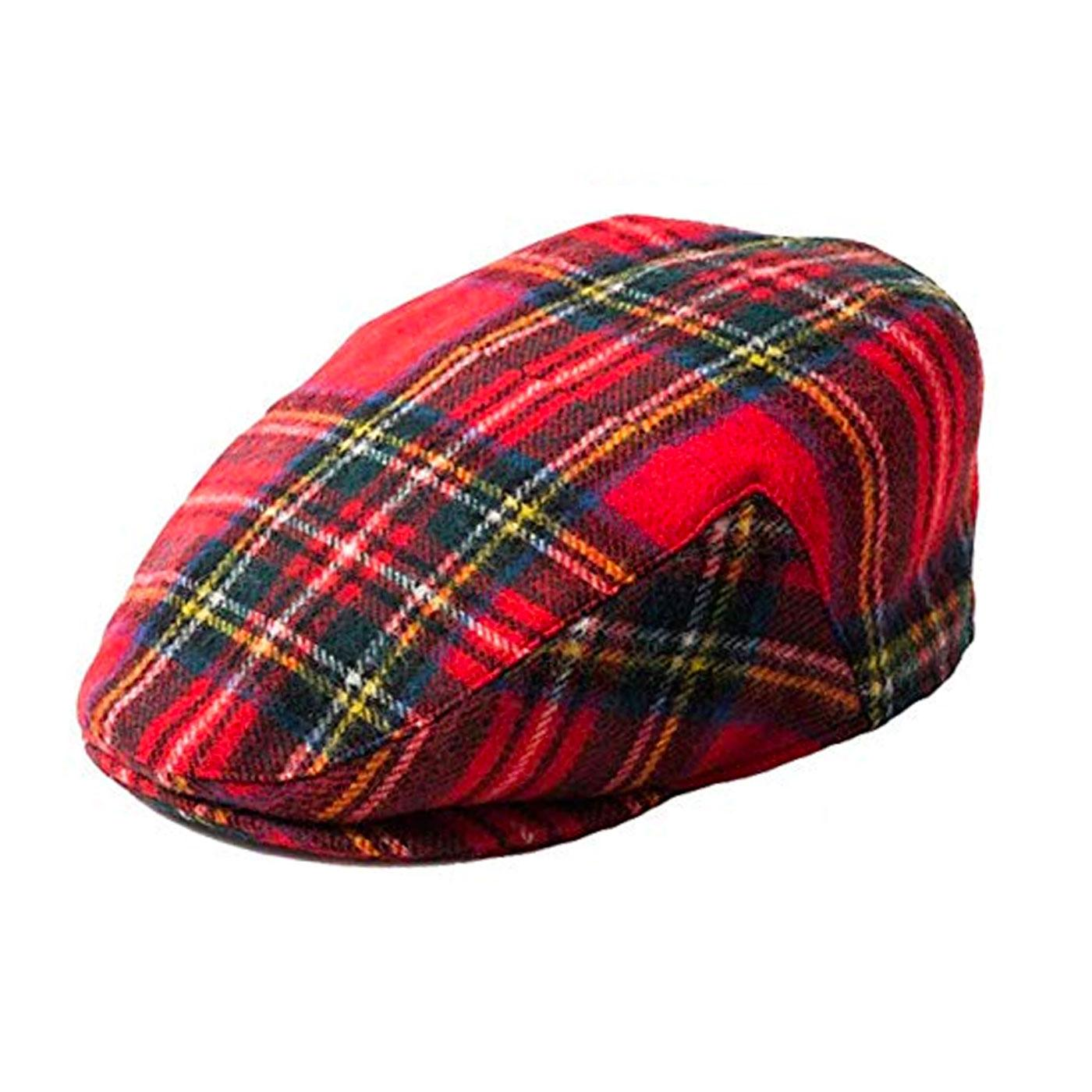FAILSWORTH Men's Retro Tartan Flat Cap (Red)