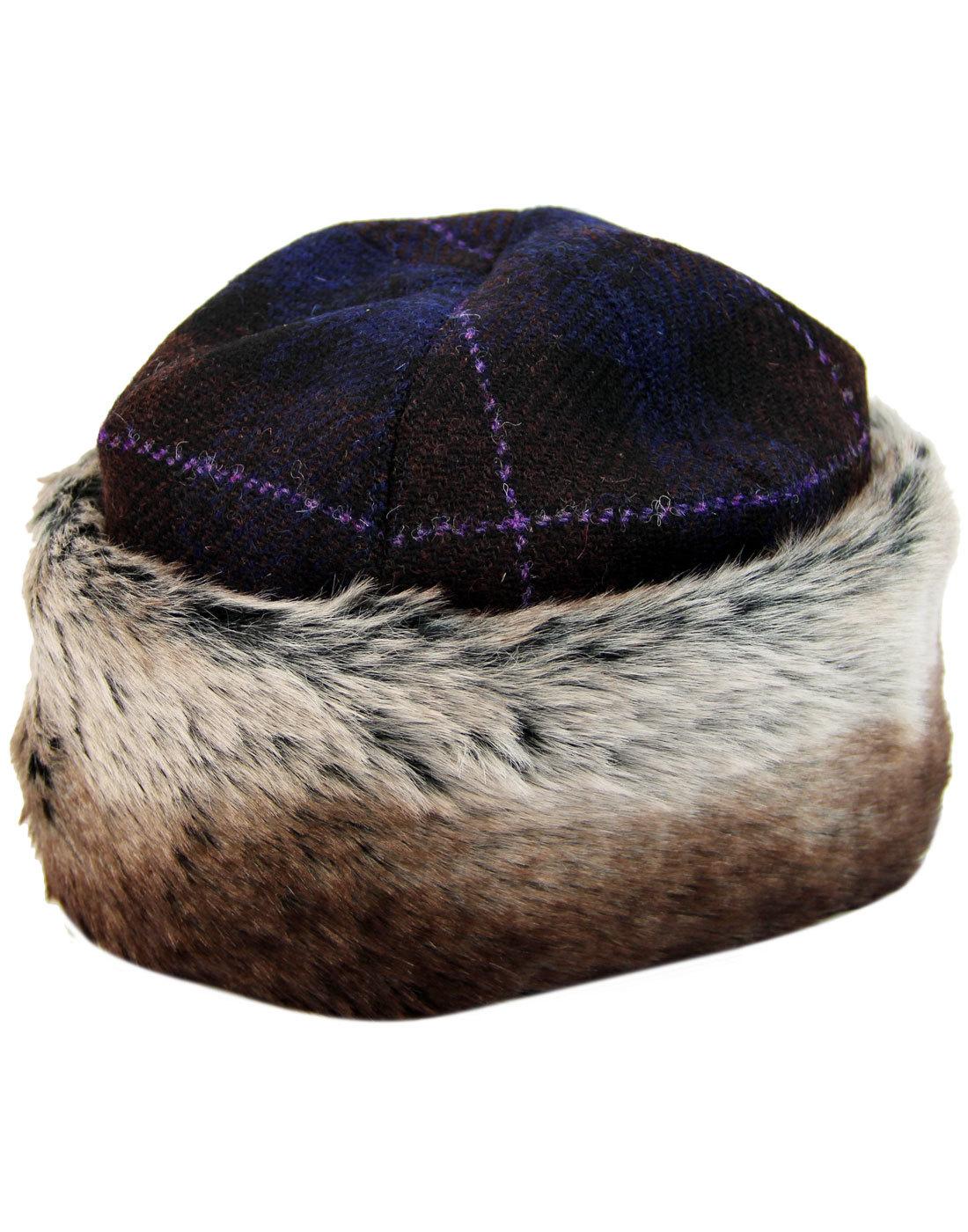 FAILSWORTH Harris Tweed Retro Fur Trim Cossack Hat