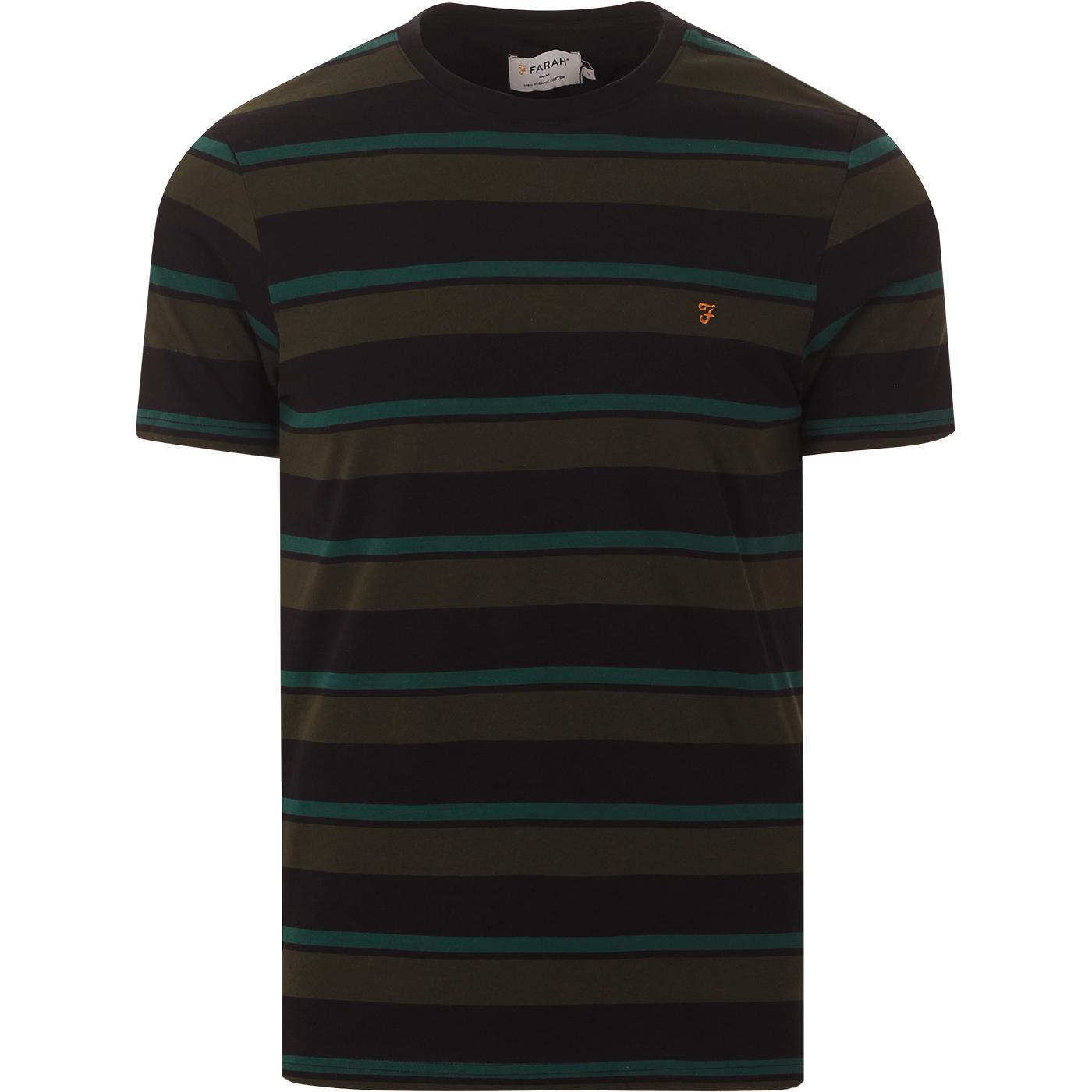 Agawam FARAH Retro Mod Multi Stripe Tee (Black)