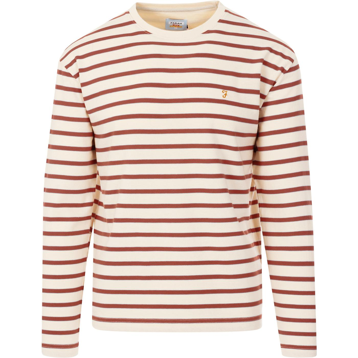 FARAH 100 Barrio Stripe Heavyweight Tee (Cream)