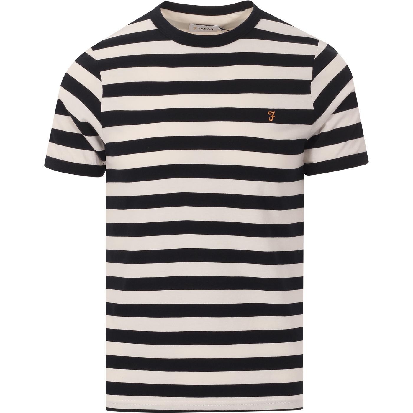 Belgrove FARAH Mens Retro Mod Striped T-Shirt ECRU