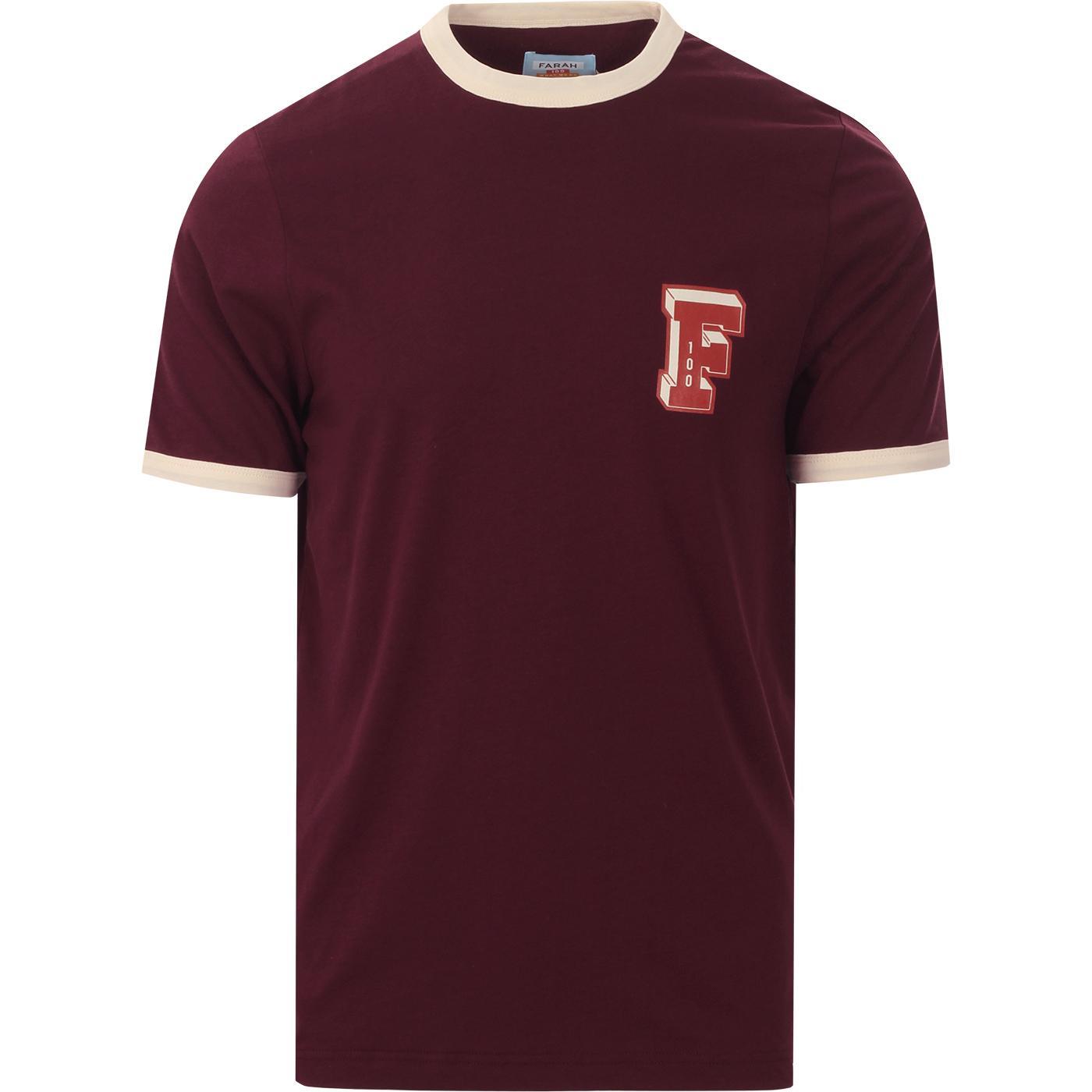 Bliss FARAH Crew Neck Ringer T-Shirt In Raspberry