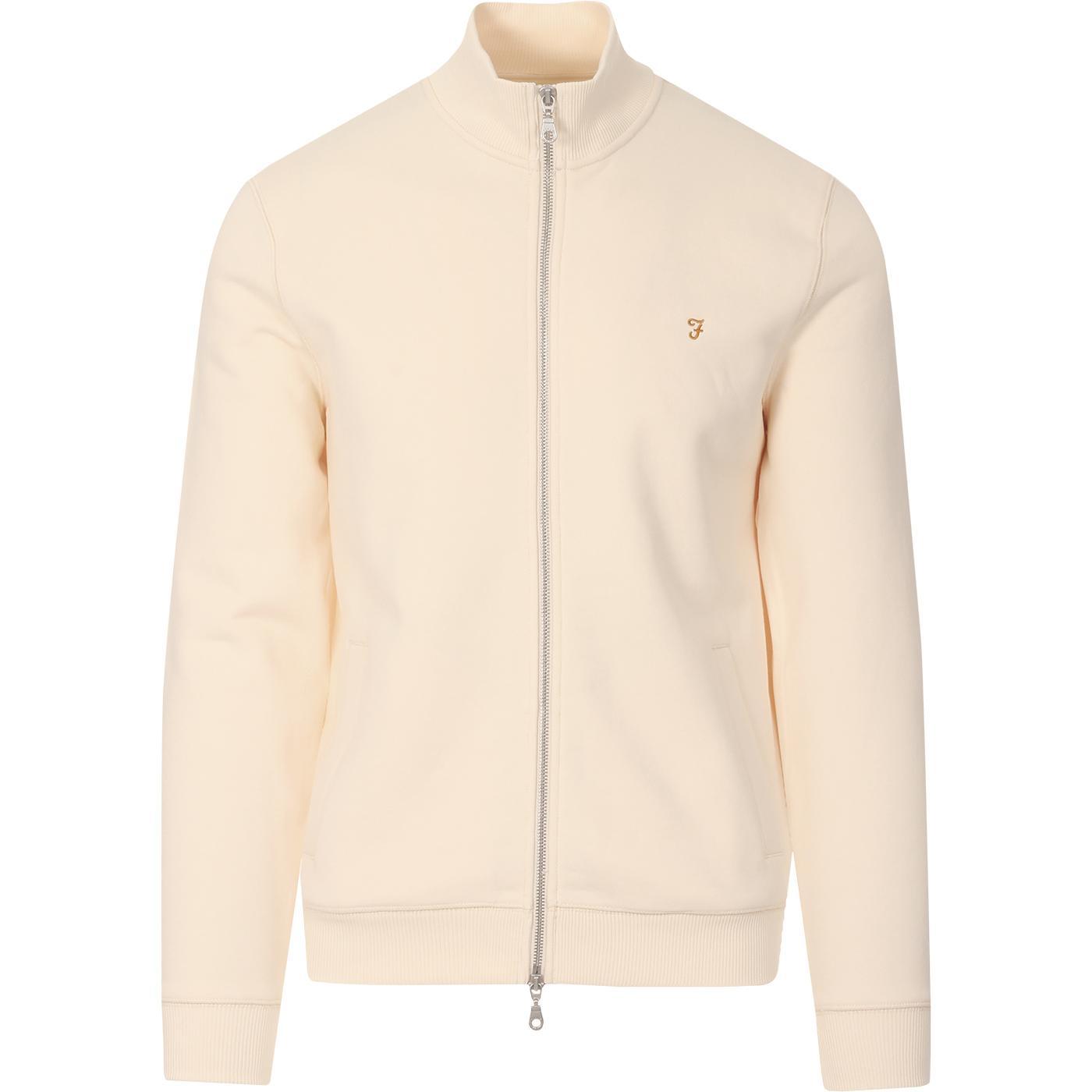Bowmont FARAH Retro Plain Zip Track Jacket (Cream)