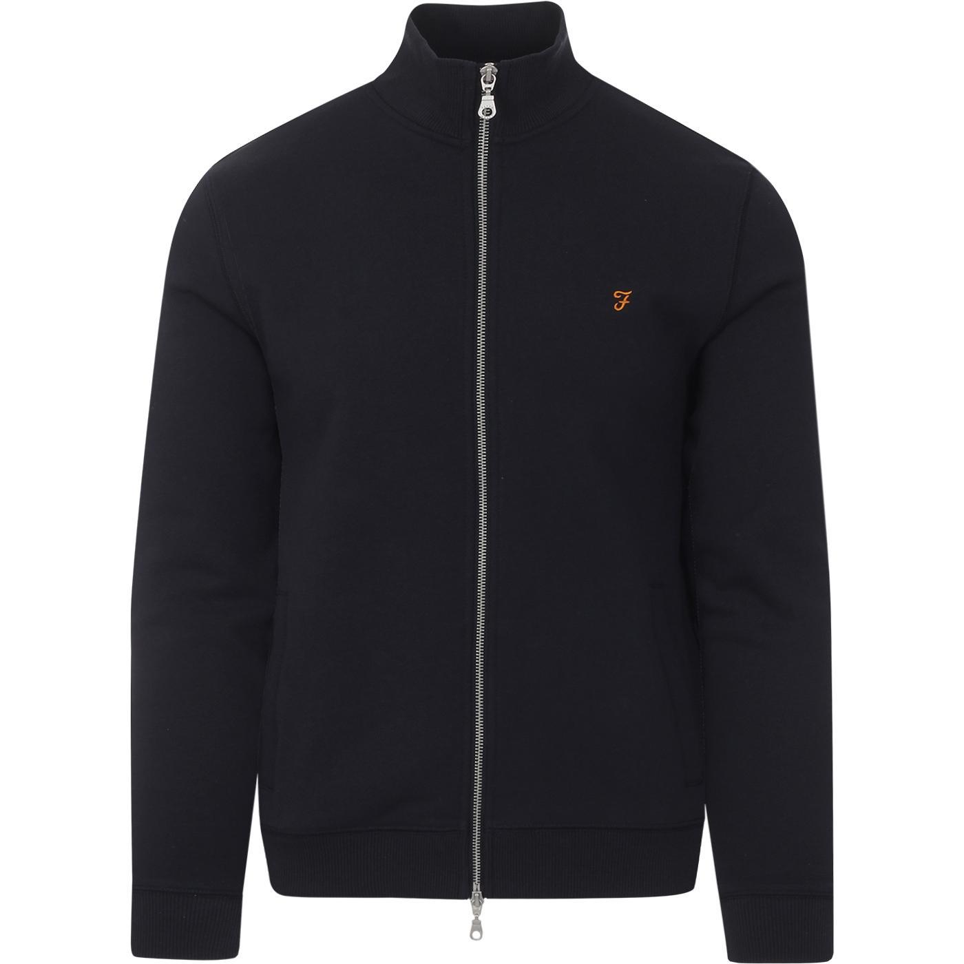 Bowmont FARAH Retro Plain Zip Track Jacket (Navy)