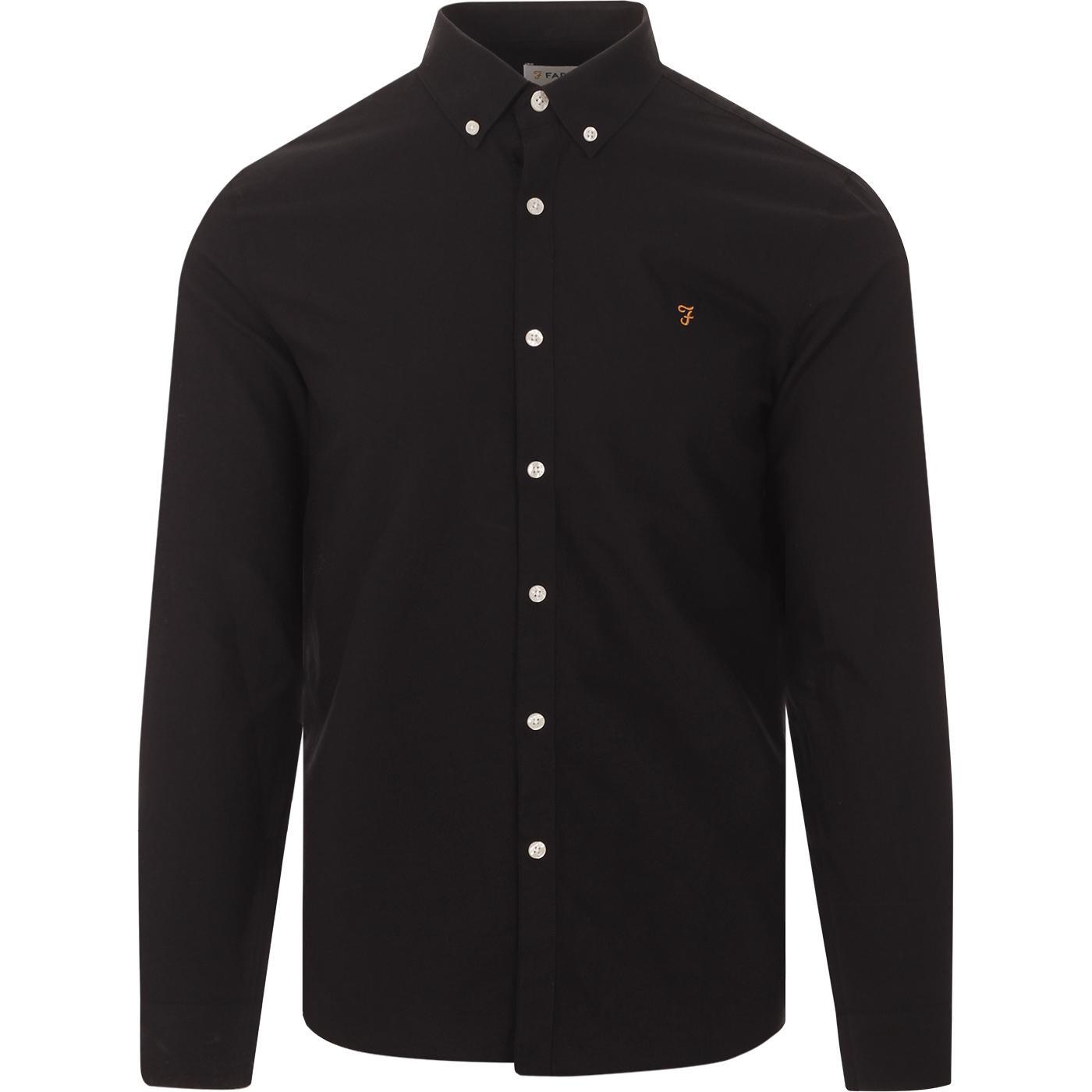 Brewer FARAH Slim Button Down Oxford Shirt (Black)