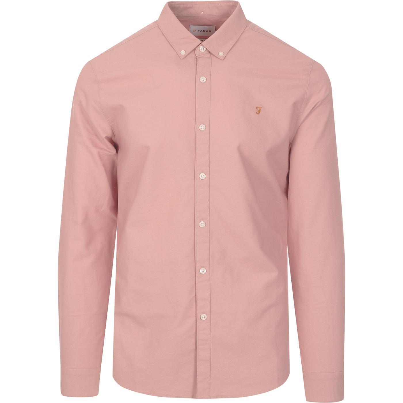 Brewer FARAH Slim Button Down Oxford Shirt (Blush)