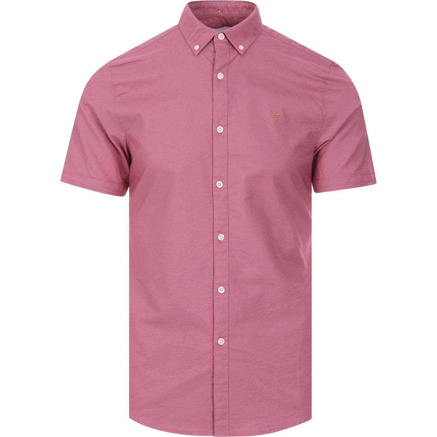 Brewer FARAH S/S Slim Button Down Oxford Shirt (R)