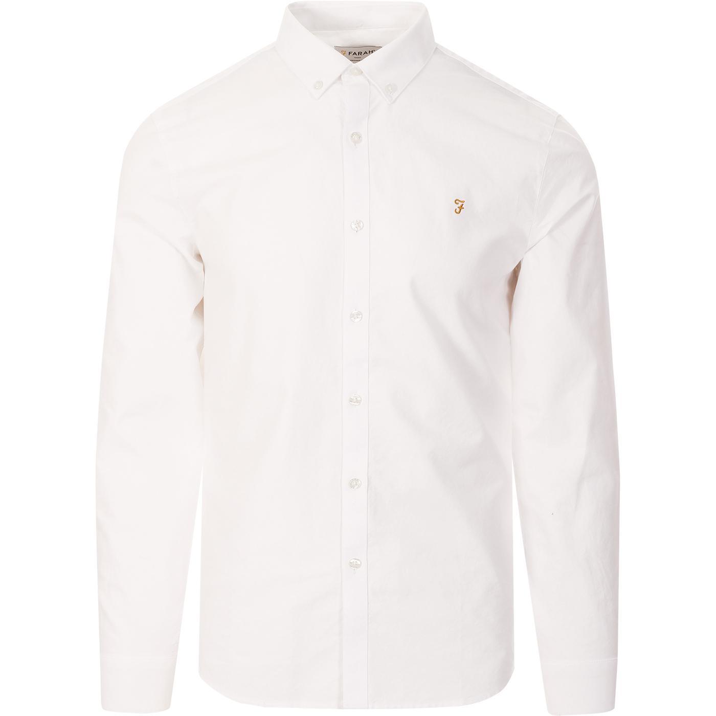 Brewer FARAH Slim Button Down Oxford Shirt (White)