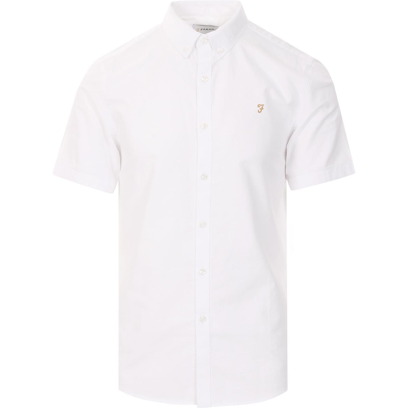 Brewer FARAH Slim Fit Mod Oxford S/S Shirt WHITE