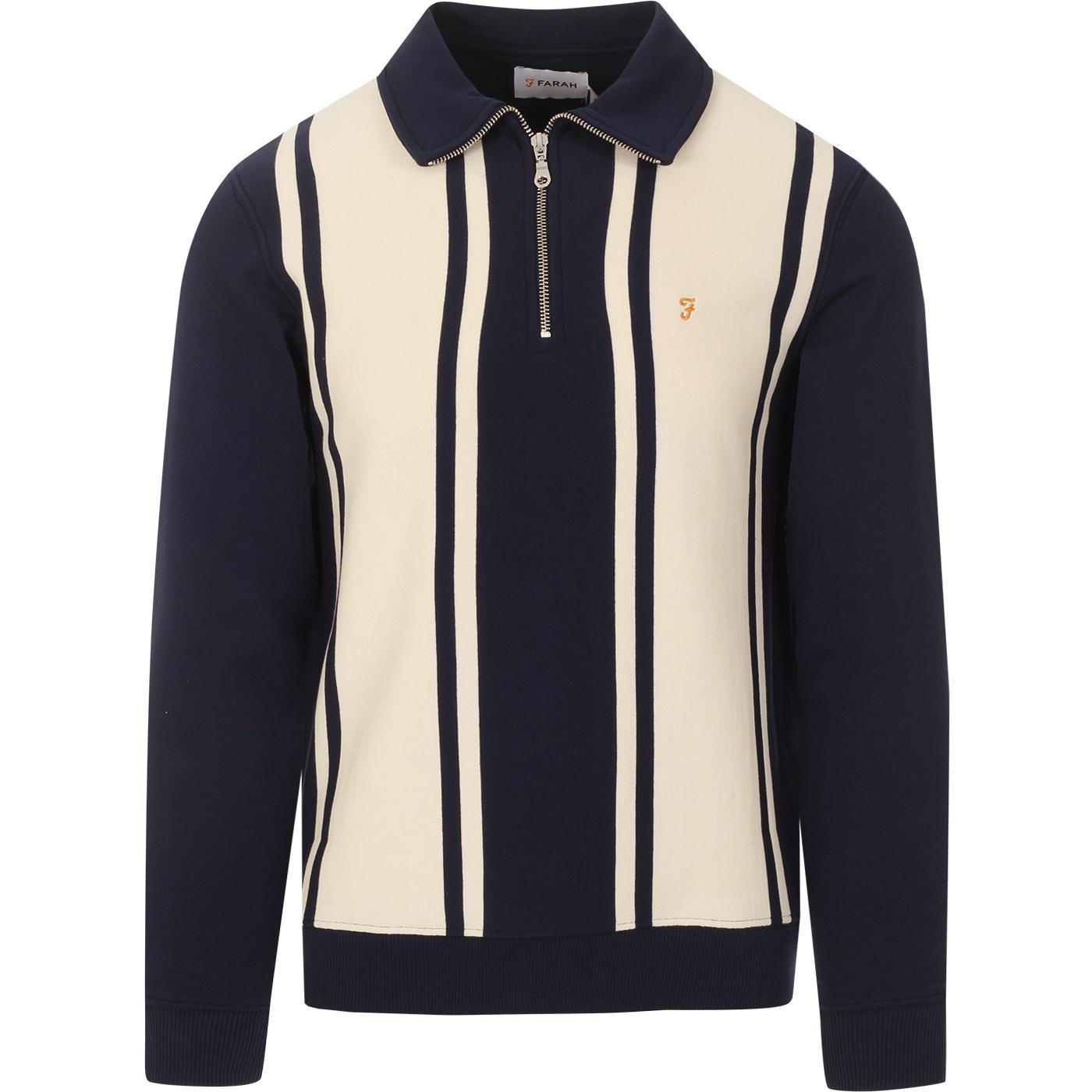 California FARAH Mod Stripe Panel Polo Sweatshirt