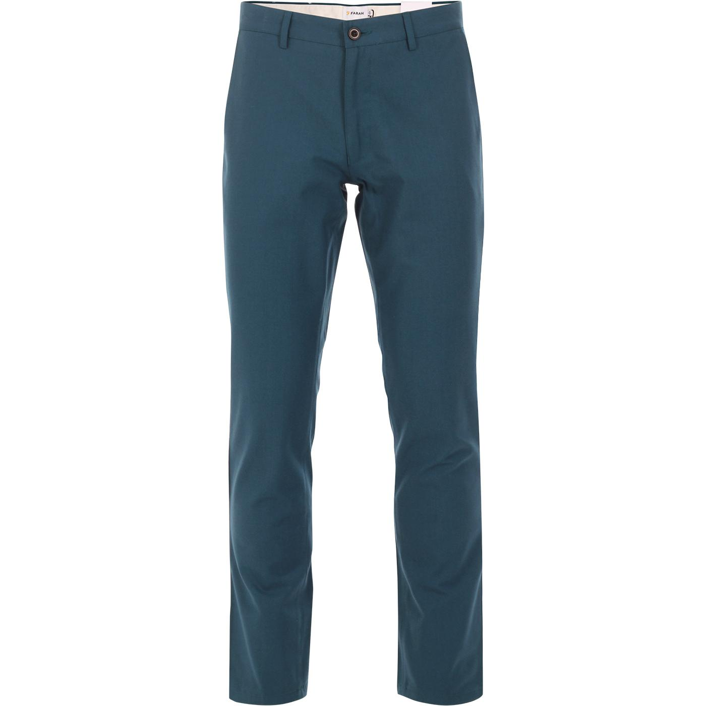 Elm FARAH Retro Mod Slim Hopsack Trousers (Teal)