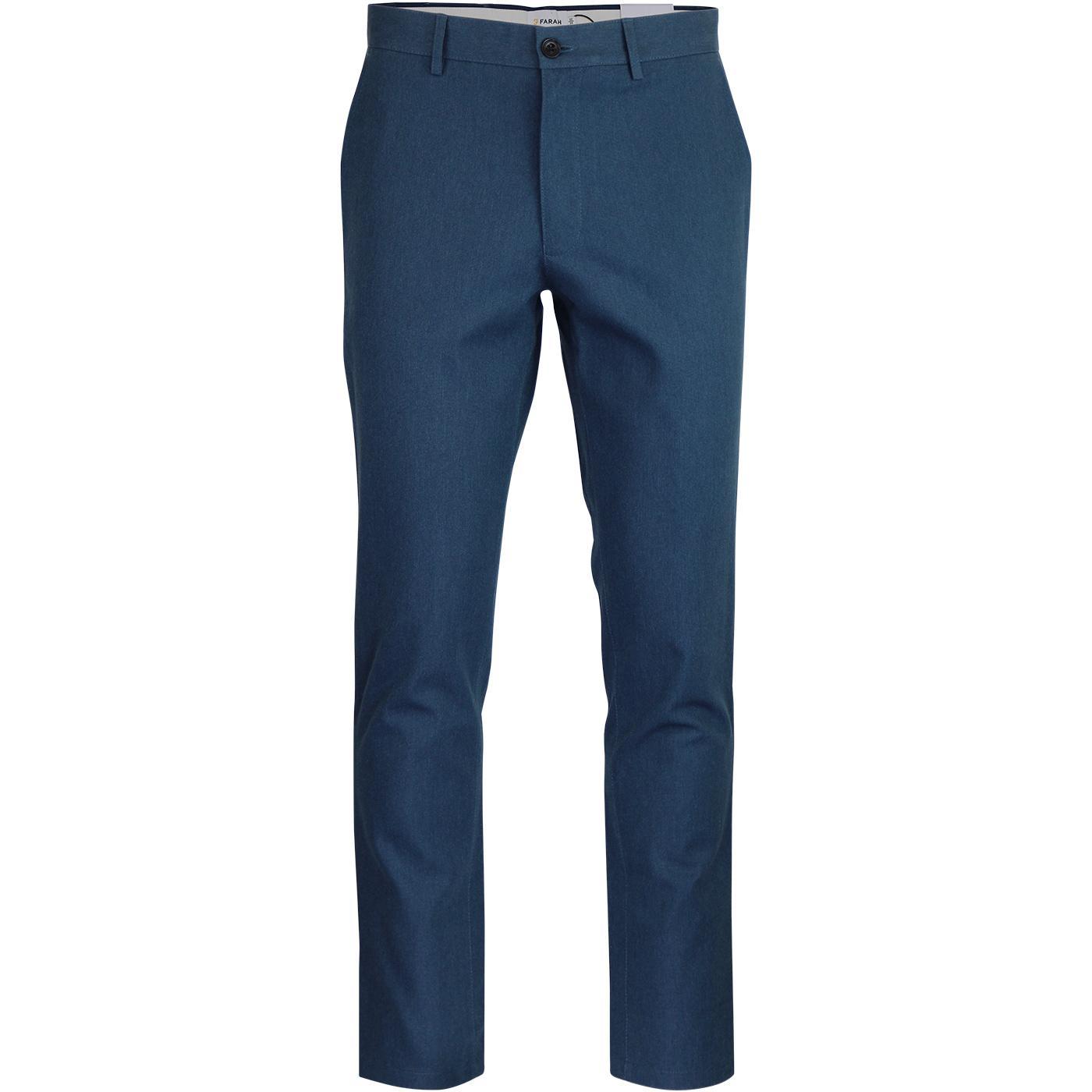 Elm FARAH Retro 60s Mod Hopsack Trousers BLUE STAR