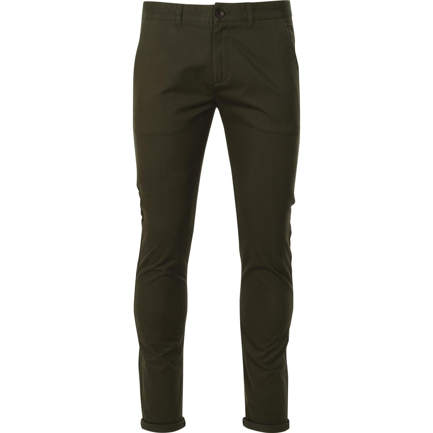 Drake FARAH Retro Mod Twill Chino Trousers (Green)