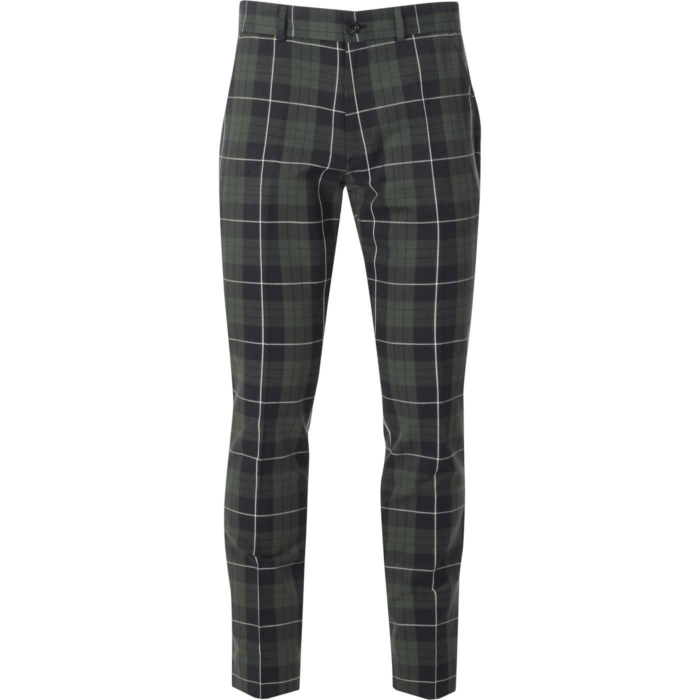 Elm FARAH 100 Mod 60s Tartan Check Trousers (Yale)