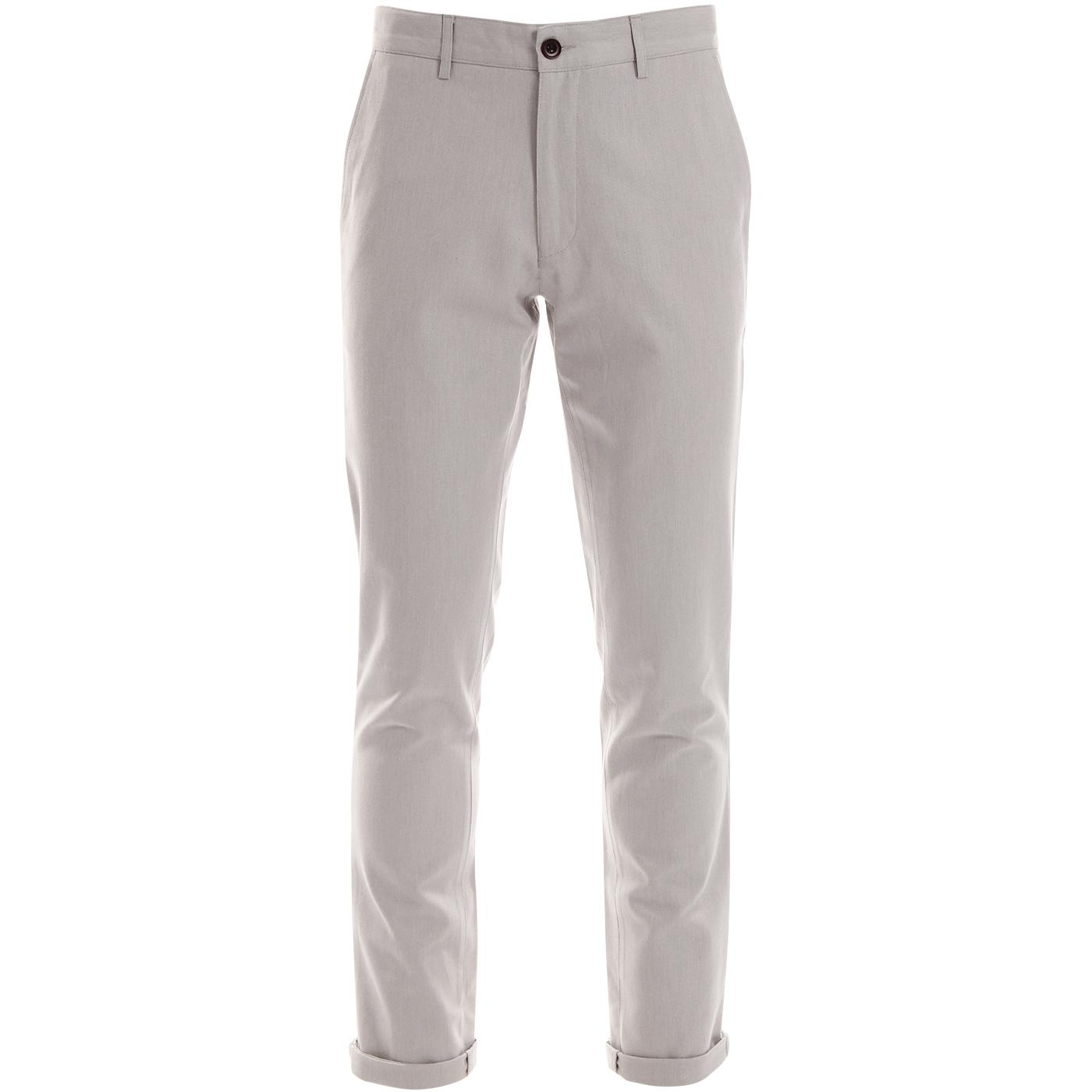 Elm FARAH Retro Mod Slim Hopsack Trouser Grey Mist