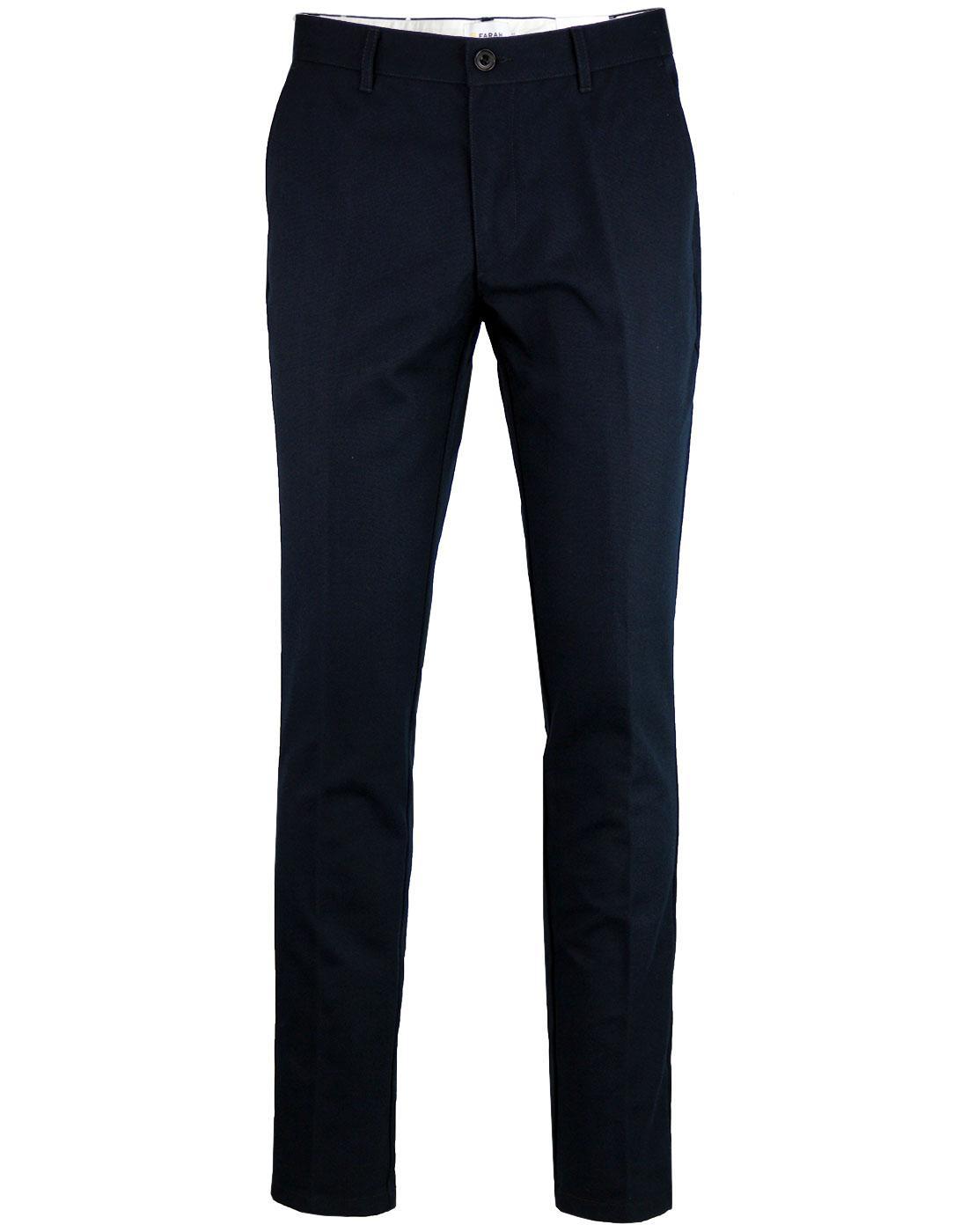 Elm FARAH Men's 60s Mod Slim Hopsack Trousers TN