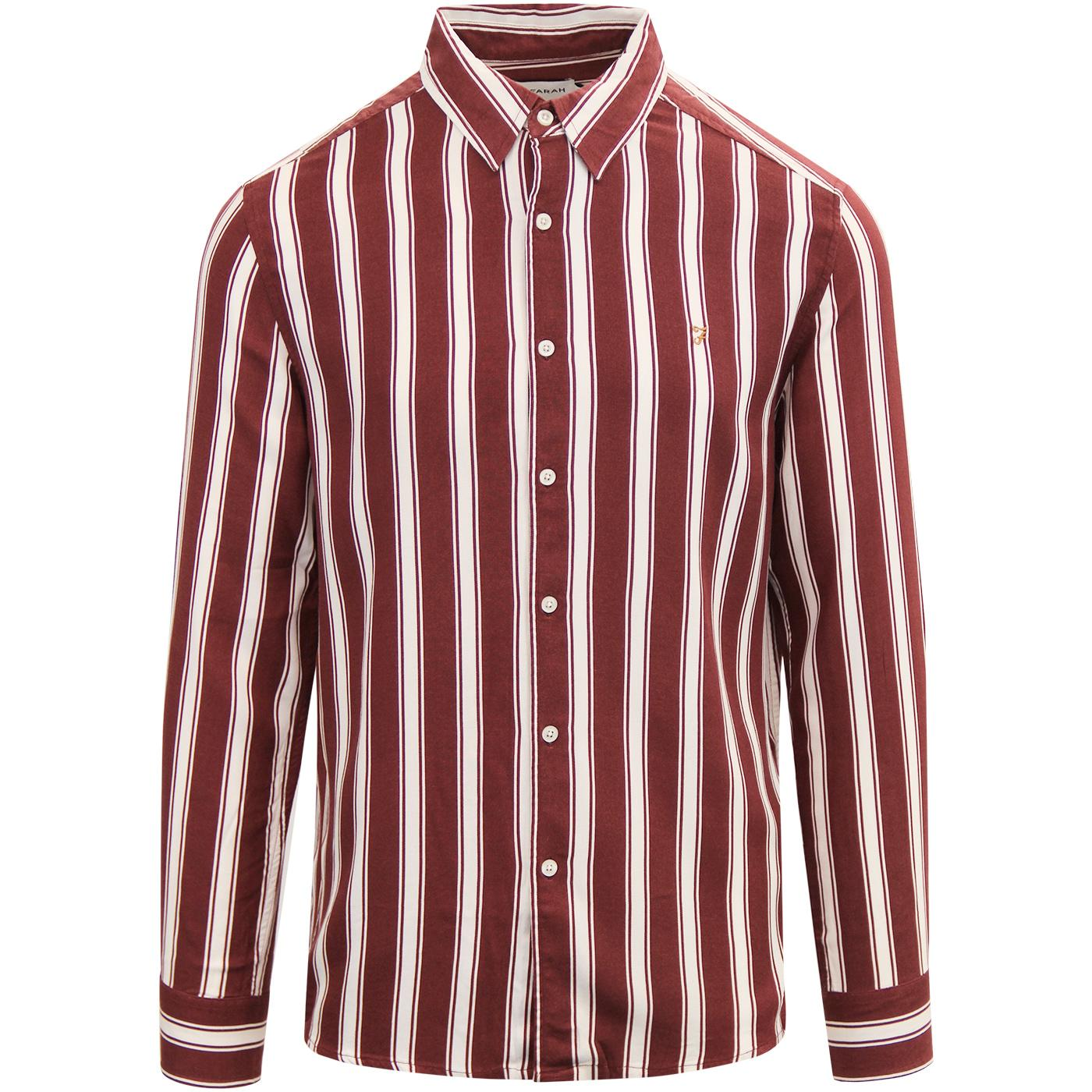 Evison FARAH Retro Mod Casual Fit Stripe Shirt BR