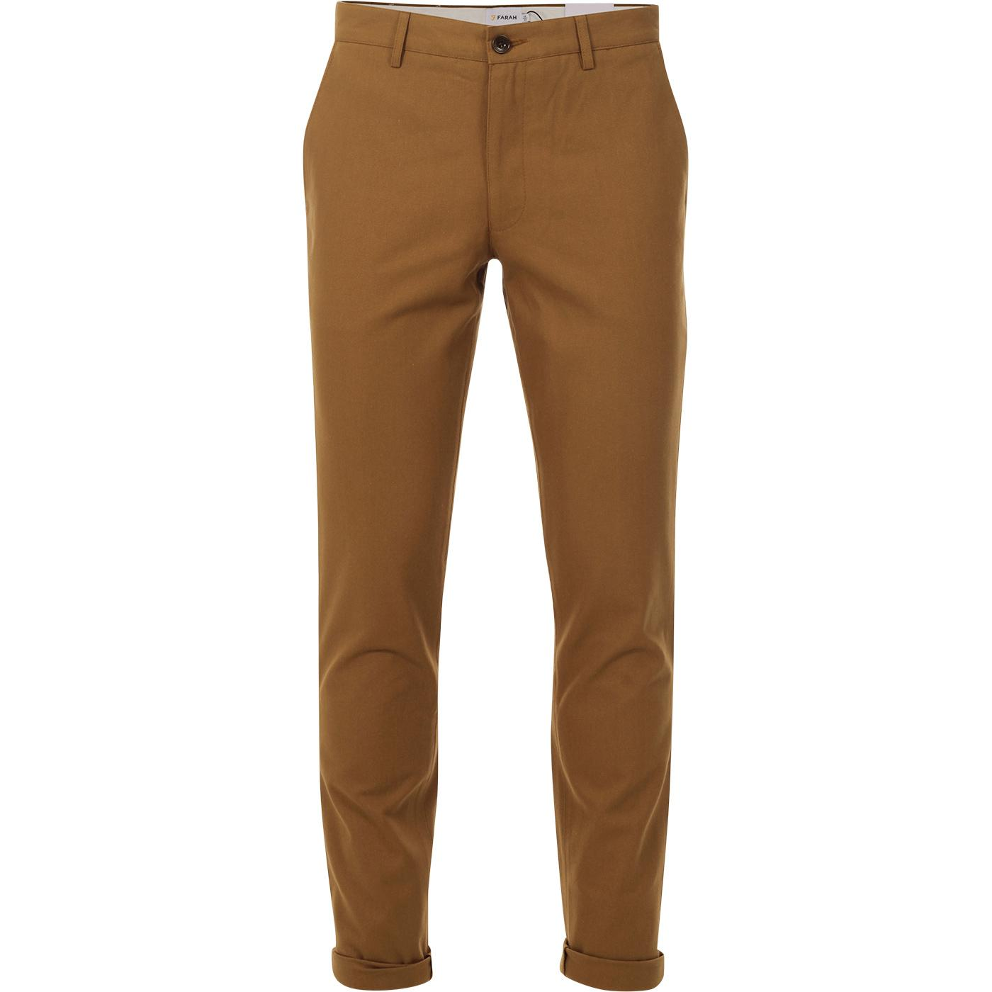 Elm FARAH Retro Mod Slim Hopsack Trousers  (BROWN)