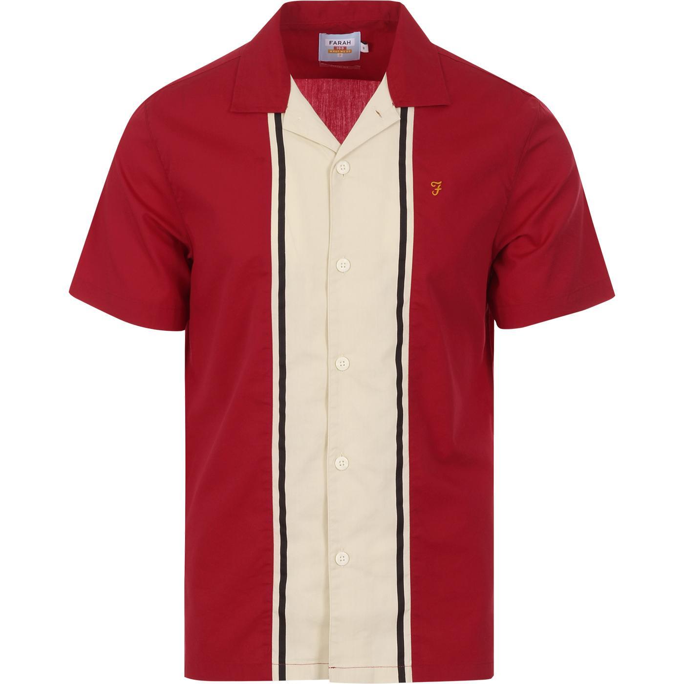 Houston FARAH 100 Mod Stripe Bowling Shirt (Red)