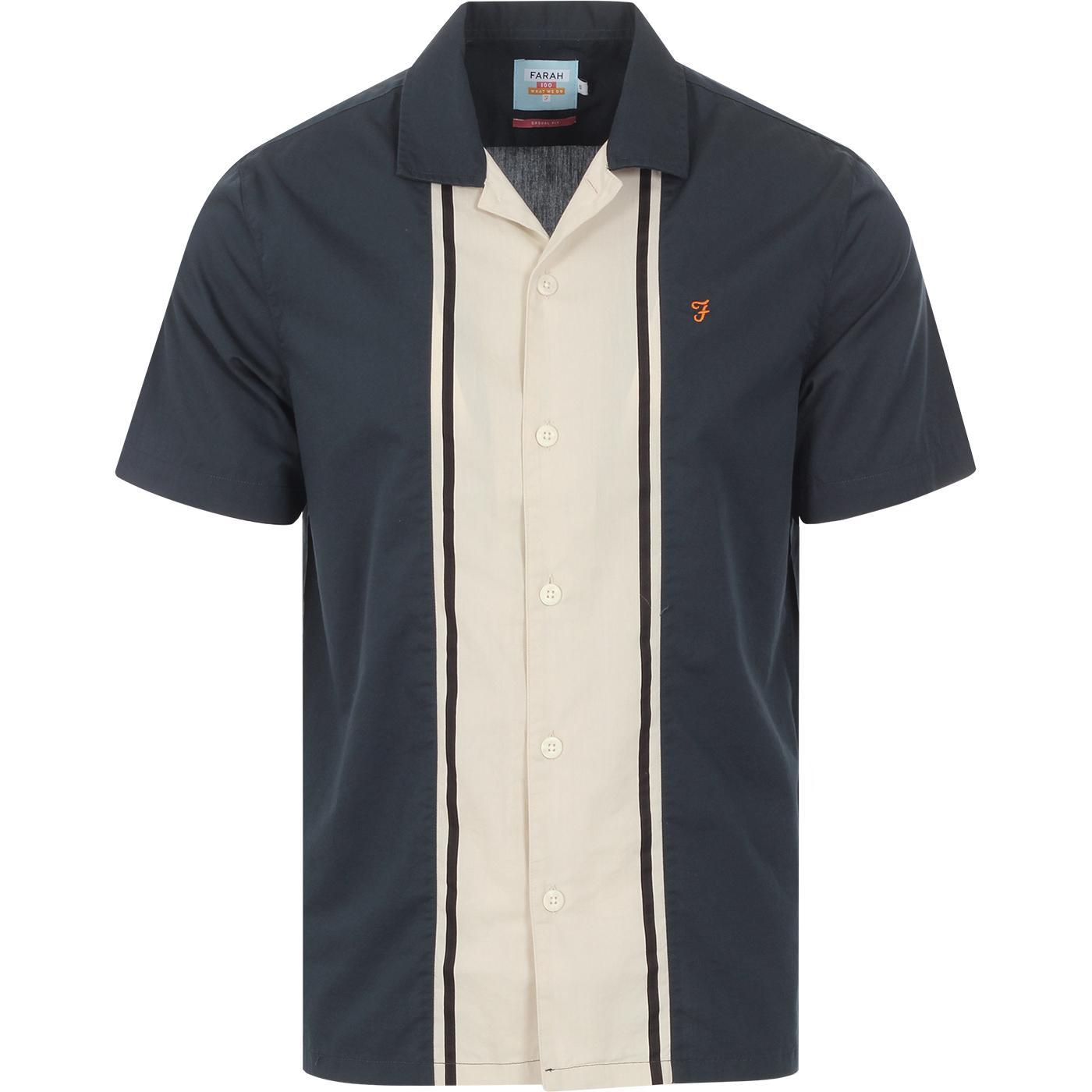 Houston FARAH 100 Mod Stripe Bowling Shirt (Teal)