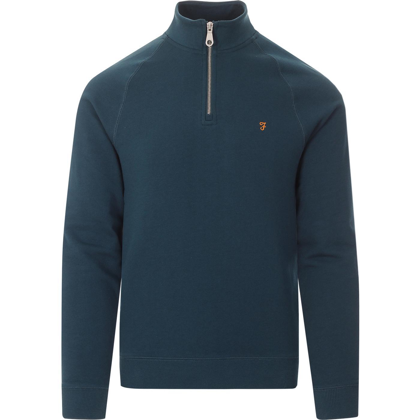 Jim FARAH 1/4 Zip Jersey Sweatshirt (Atlantic)