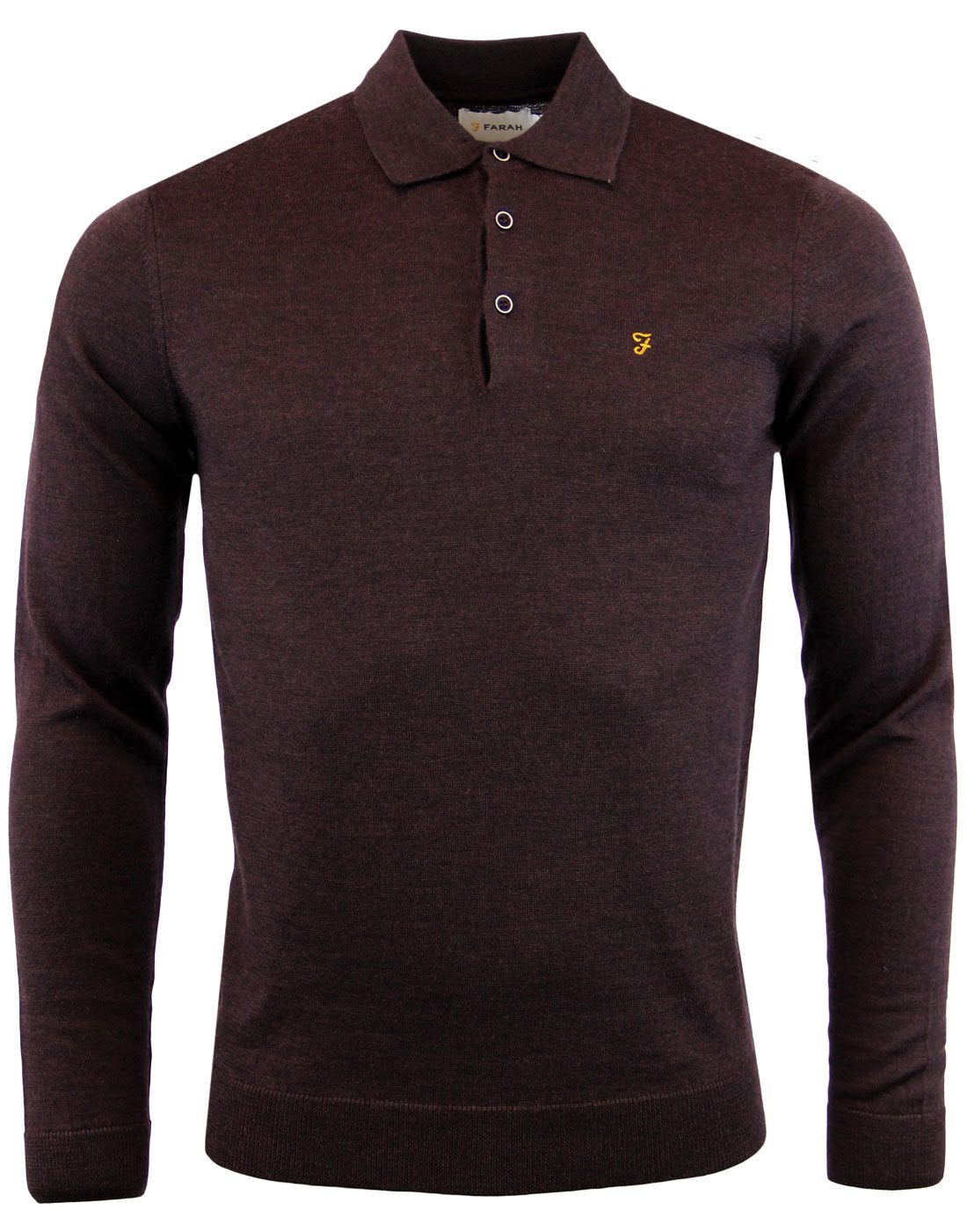 Maidwell FARAH Retro 60s Mod Knitted Wool Polo