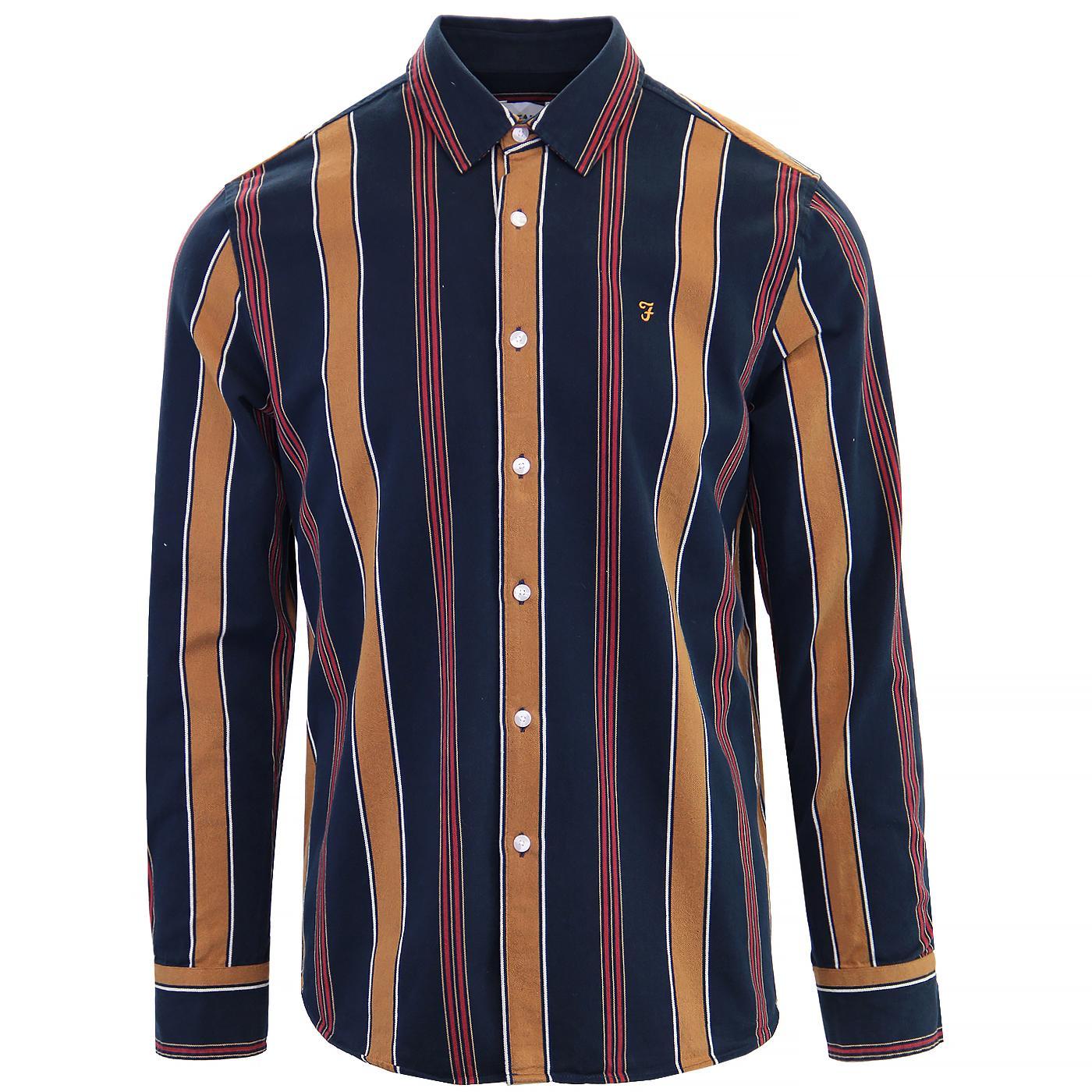 Laird FARAH Retro 60s Mod Bold Stripe Oxford Shirt