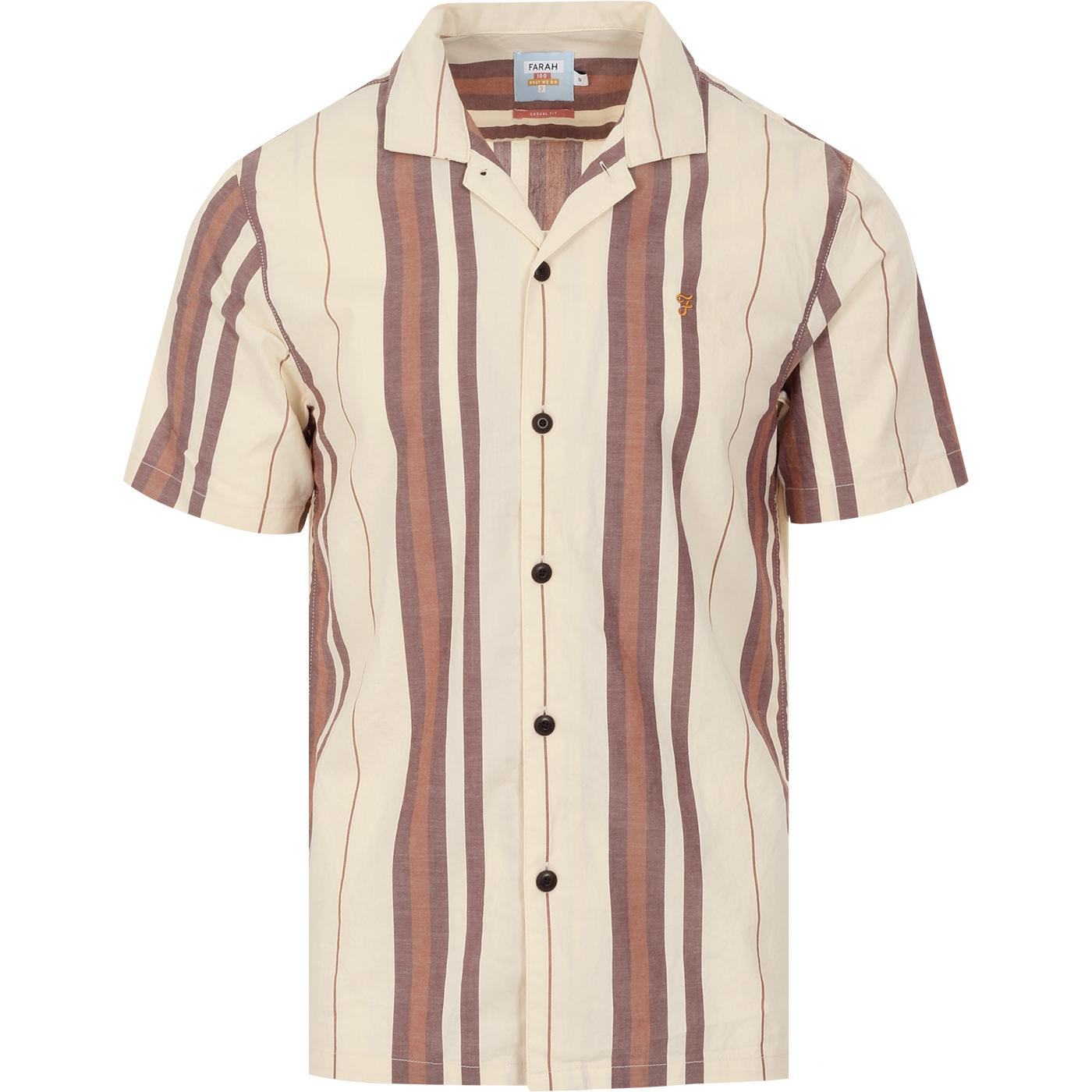 Laredo FARAH 100 Retro Stripe Cuban Collar Shirt C