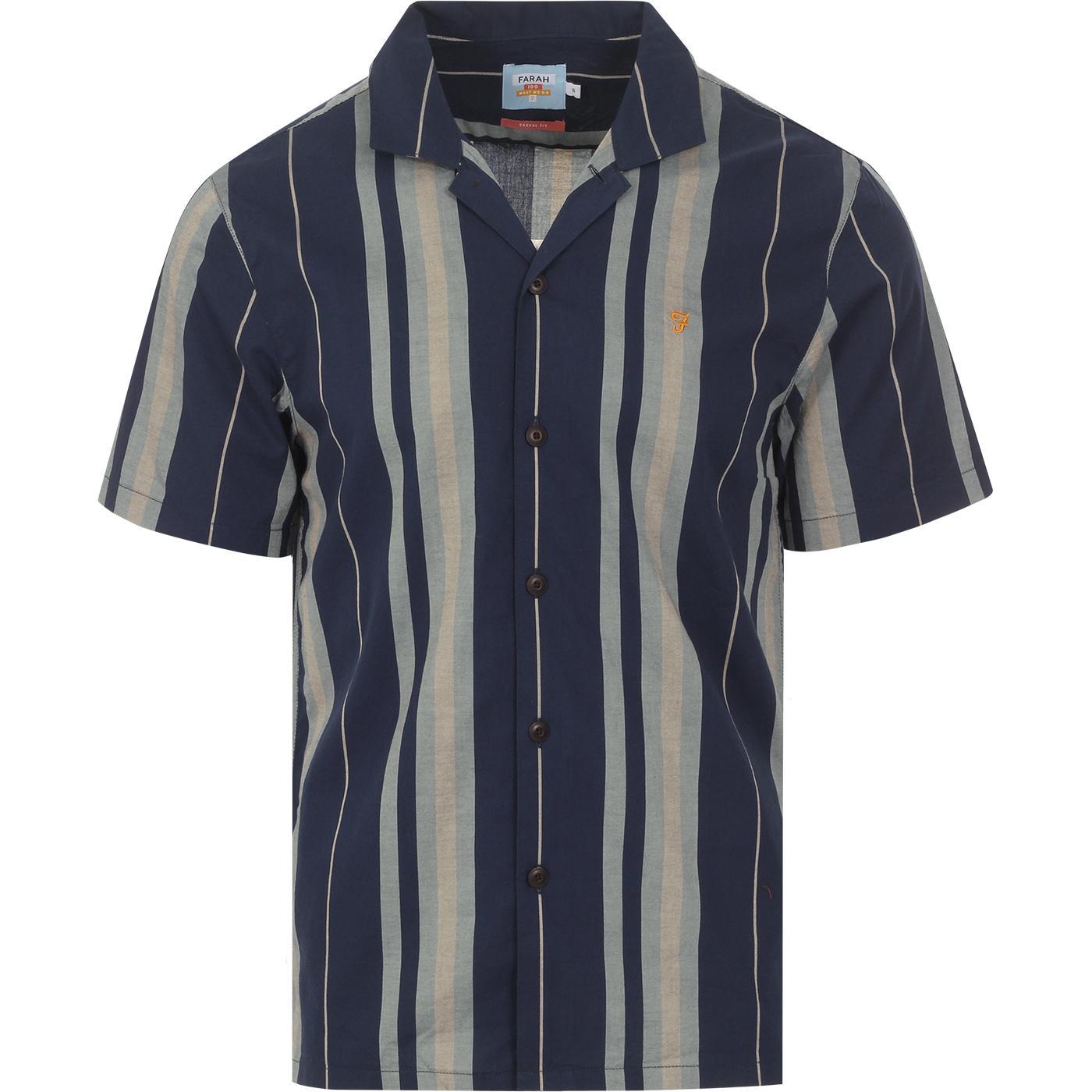 Laredo FARAH 100 Retro Stripe Cuban Collar Shirt Y