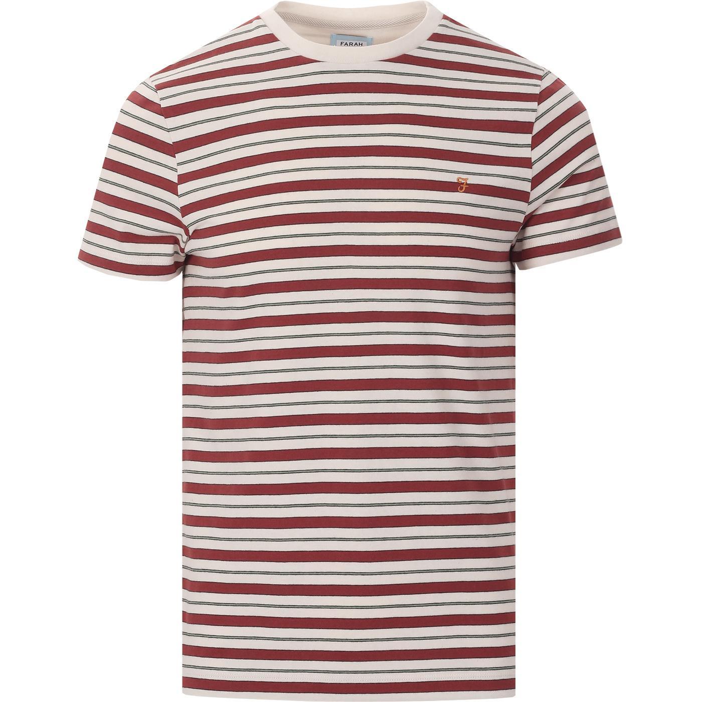 Mansour FARAH 100 Multi Stripe Retro T-shirt CREAM