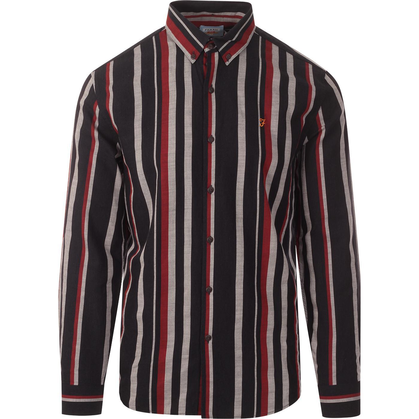 Mcpherson FARAH 100 Mod Multi Stripe Oxford Shirt