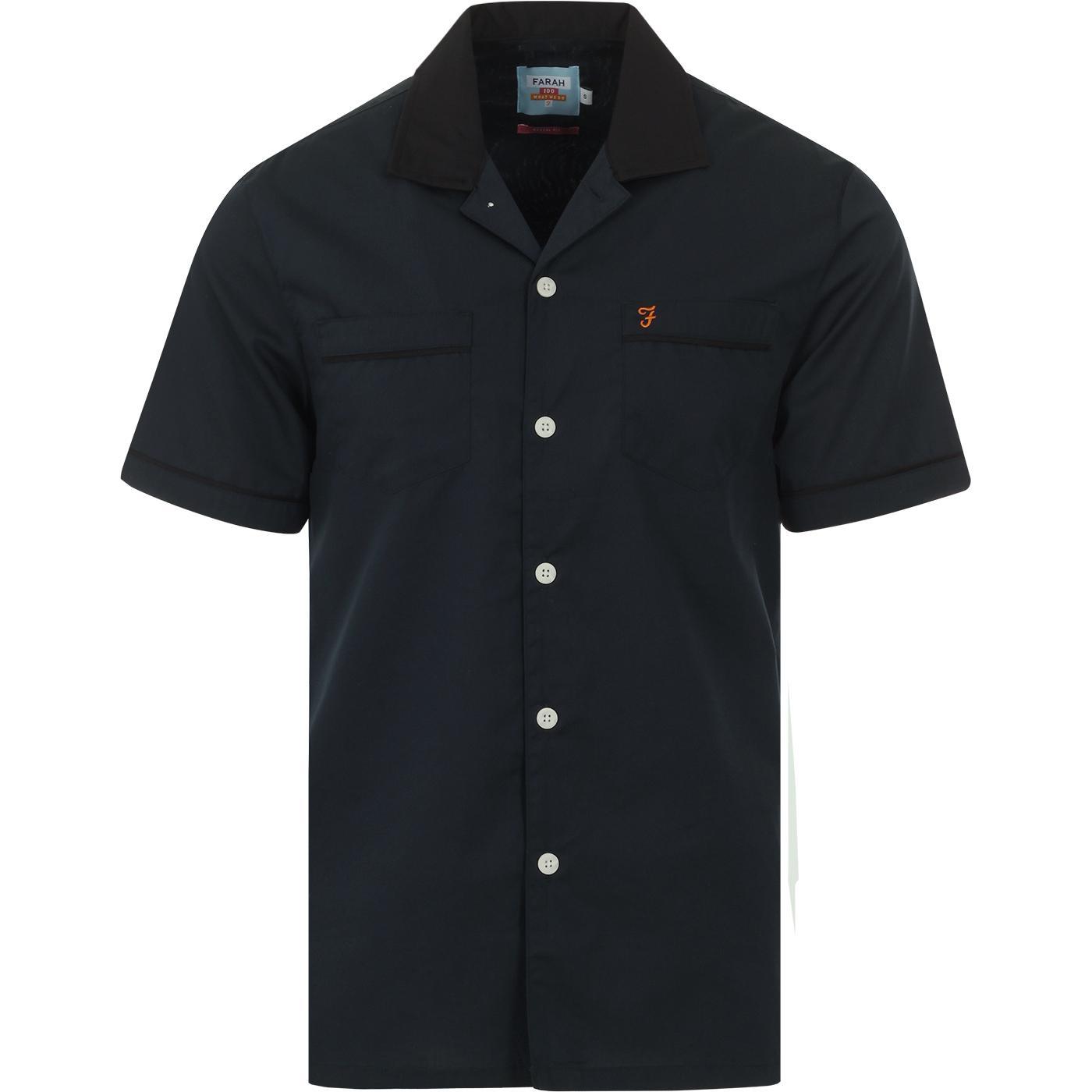Menard FARAH 100 Revere Collar Bowling Shirt TEAL