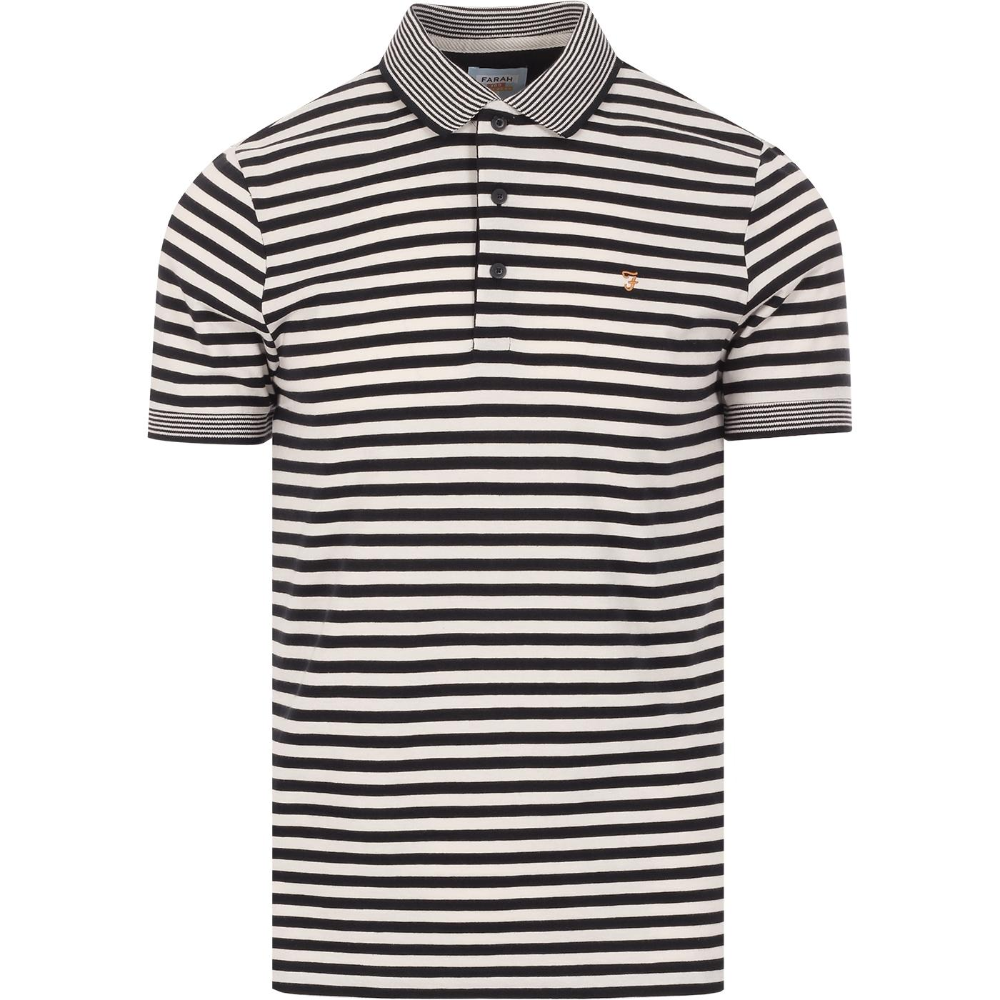 Mesa FARAH 100 Retro Mod Stripe Jersey Polo Top