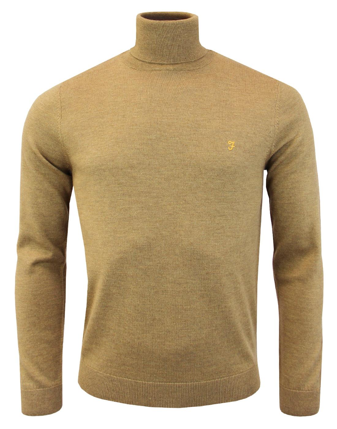 Gosforth FARAH Mod Merino Roll Neck Jumper CAMEL