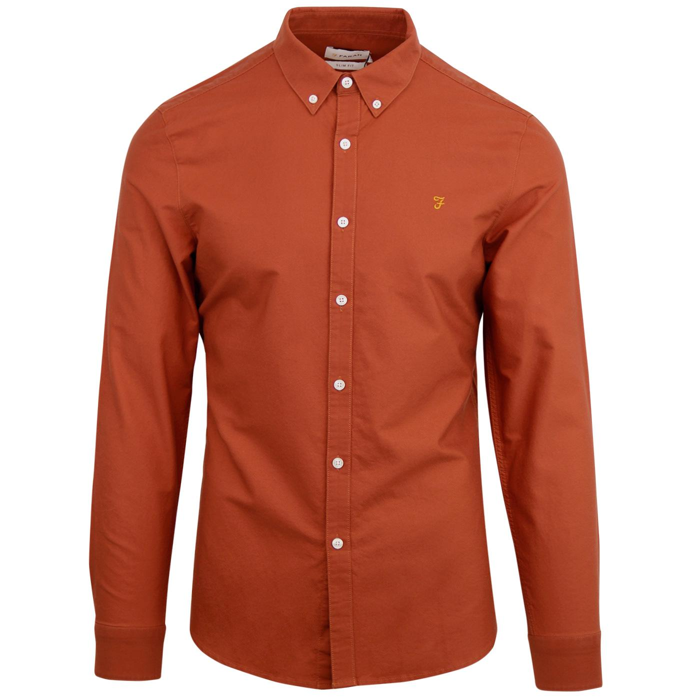 Farah Vintage Mens Brewer Slim Longsleeved Shirt Red Medium