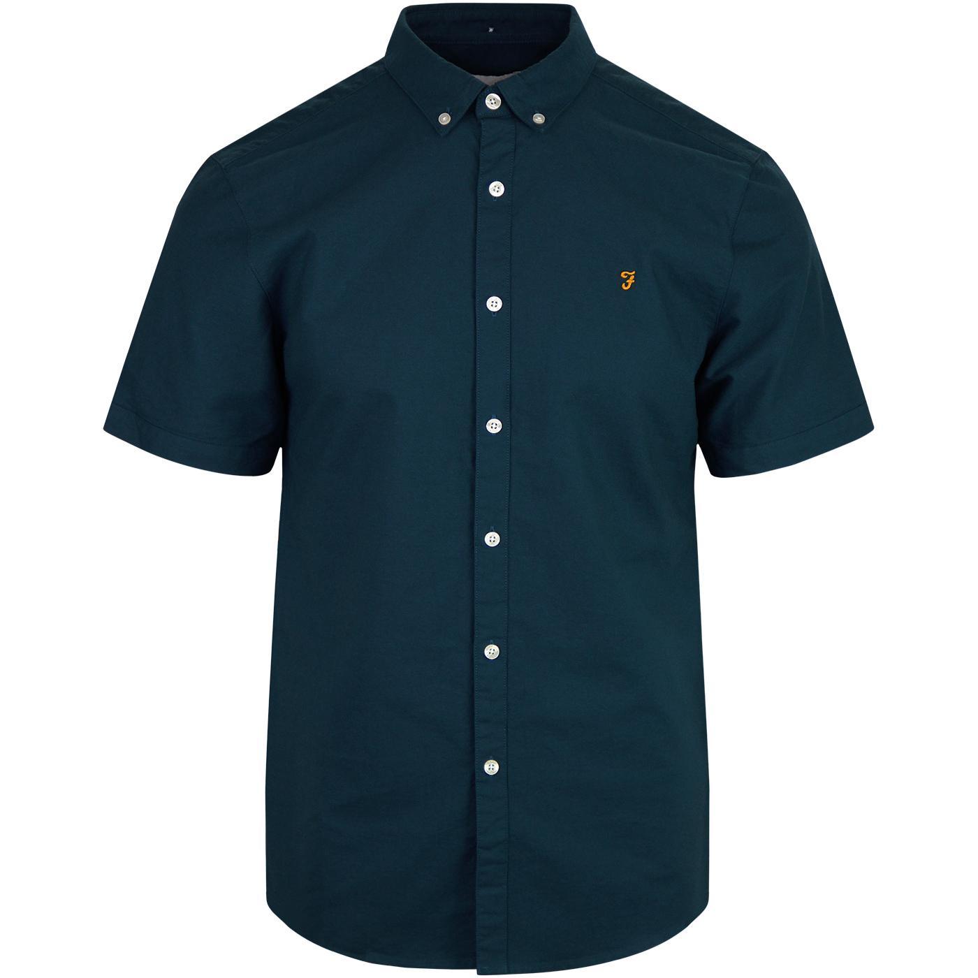 Brewer FARAH Mod Slim S/S Oxford Shirt (Blue Star)