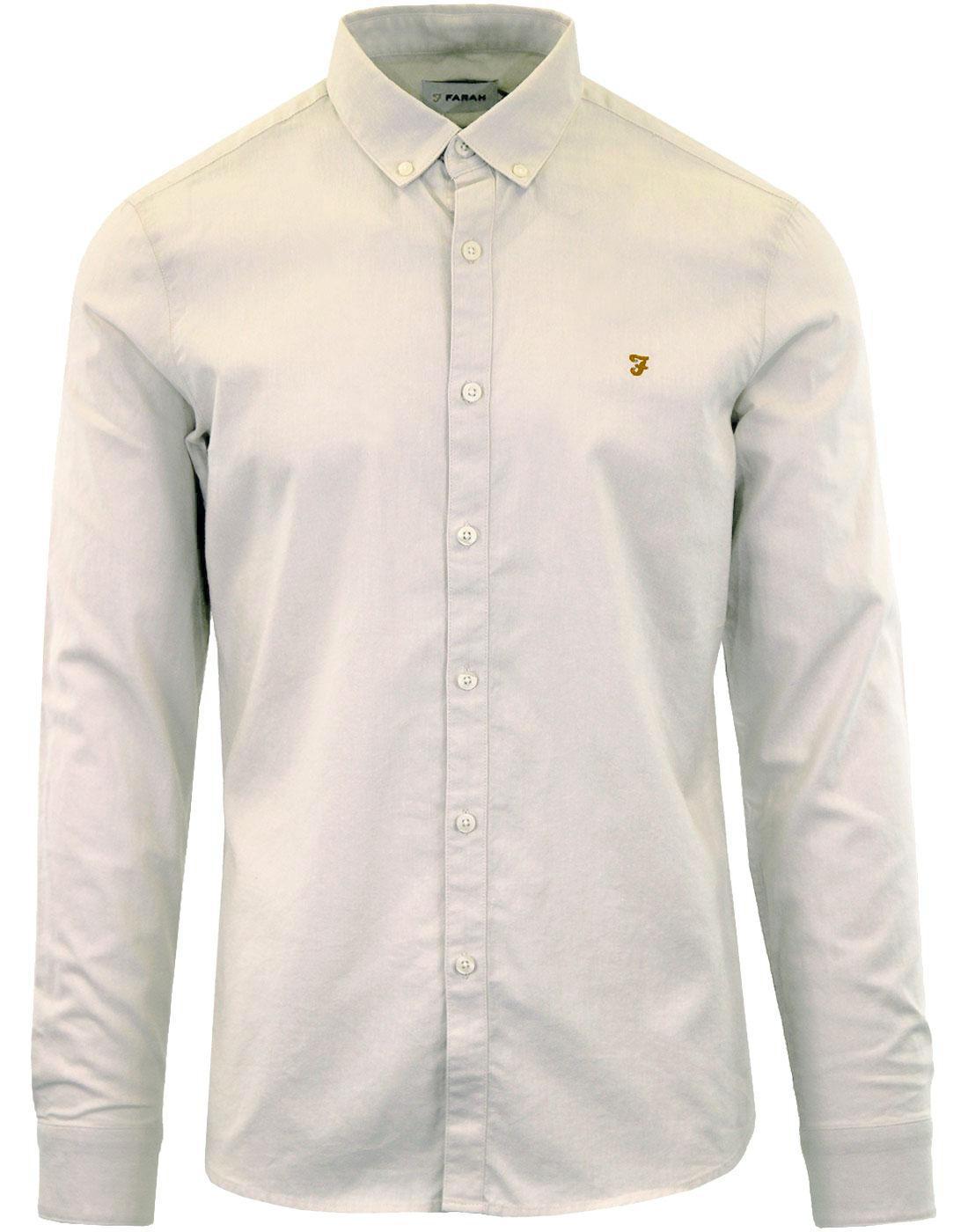 Steen FARAH Retro Button Down Oxford Shirt PEBBLE
