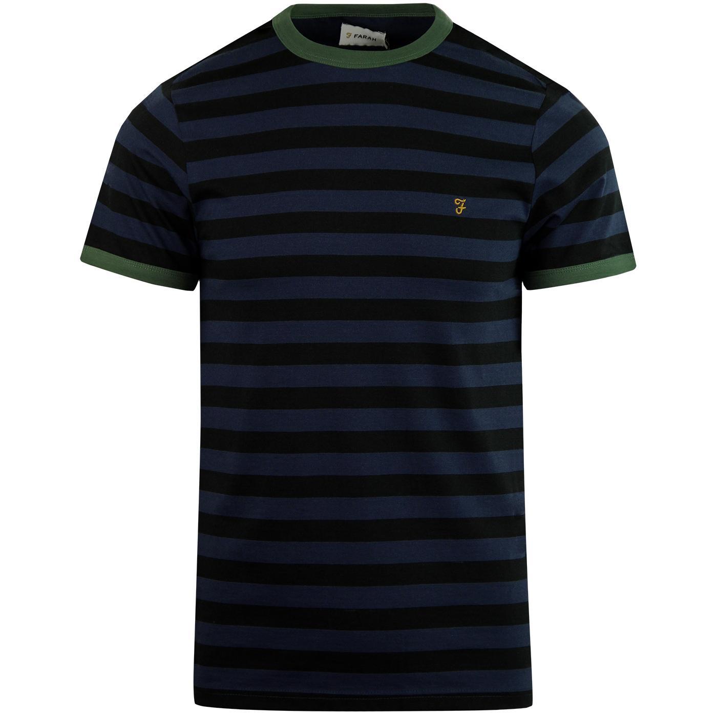Belgrove FARAH Retro Men's Stripe Tee (Deep Black)
