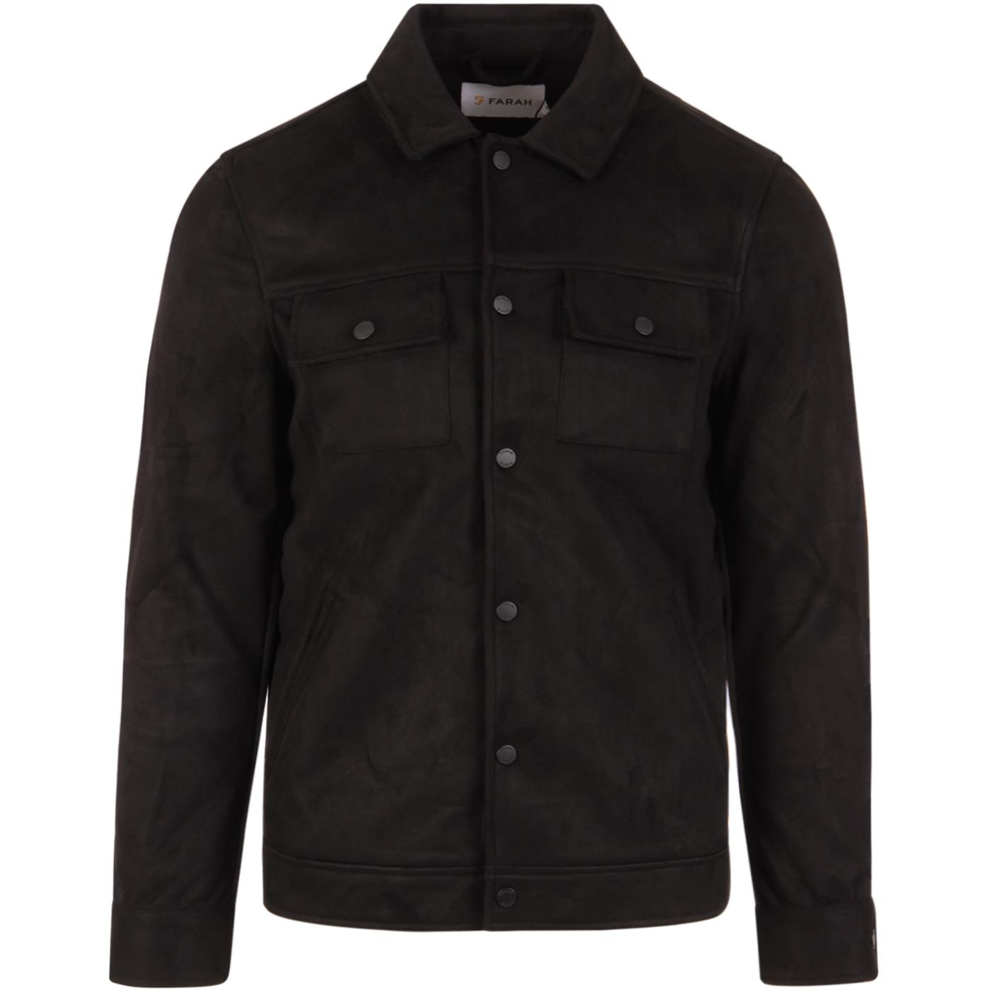 Cleethorpes FARAH VINTAGE Faux Suede Jacket BLACK