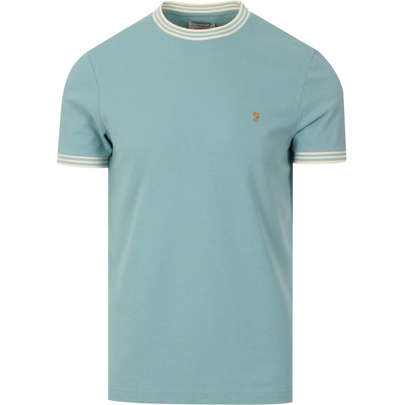 Texas FARAH Retro Mod Tipped Pique T-shirt (RG)