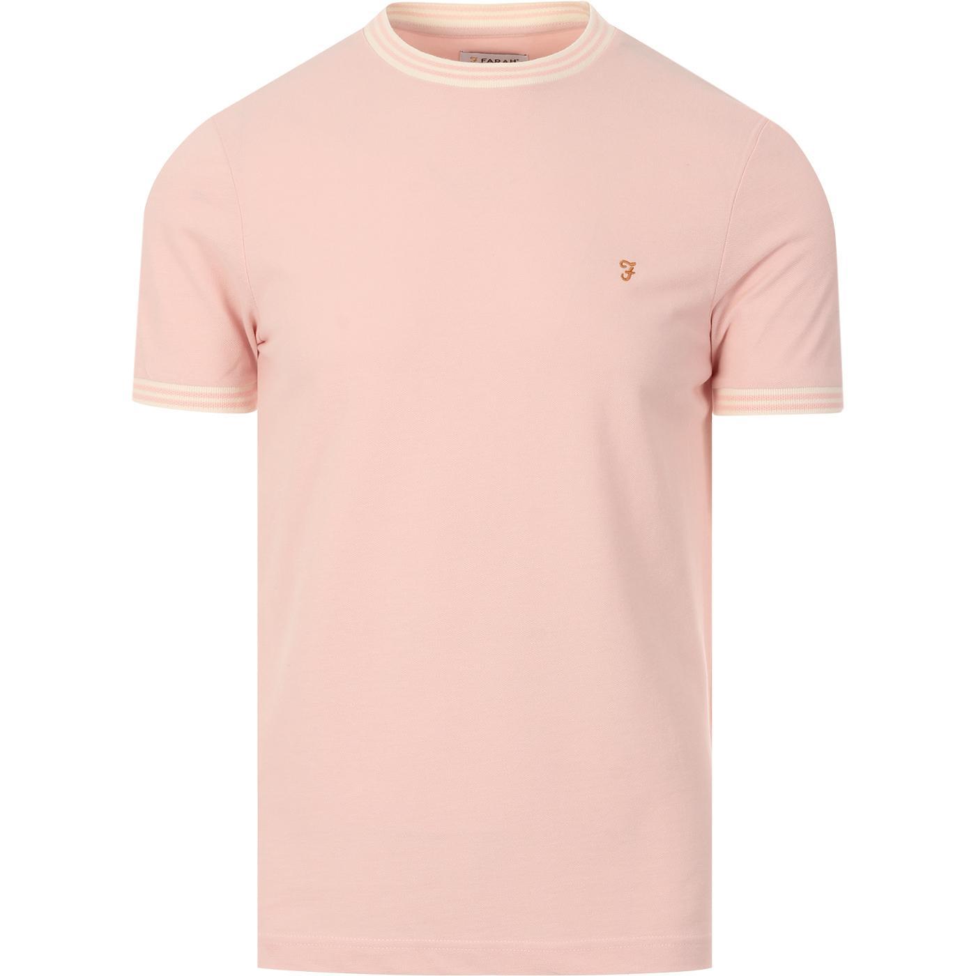 Texas FARAH Retro Mod Tipped Pique T-shirt (CP)