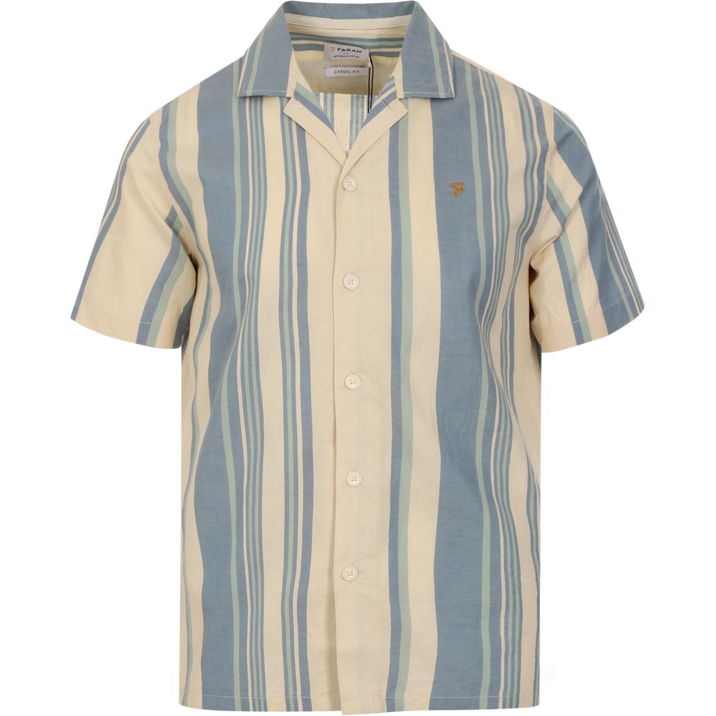 Theroux FARAH Retro 70s Stripe Revere Collar Shirt