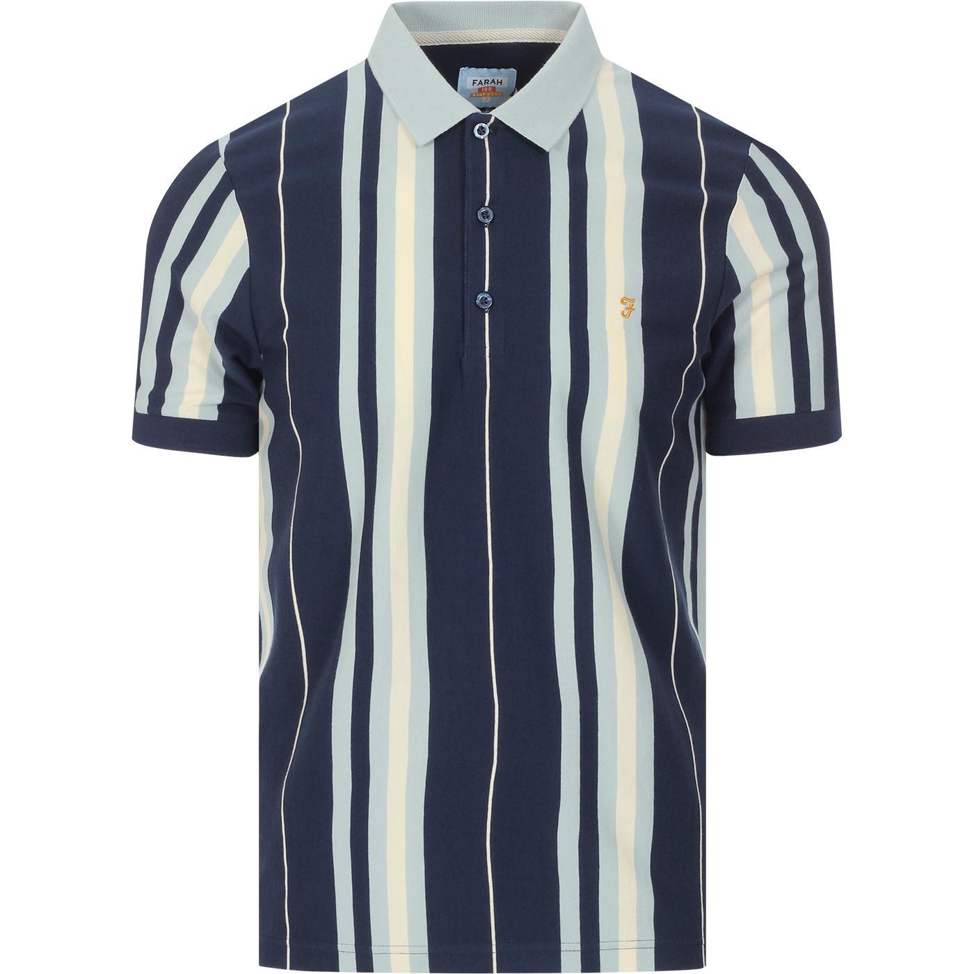 Wigwam FARAH 100 60s Mod Stripe Polo Top (Yale)