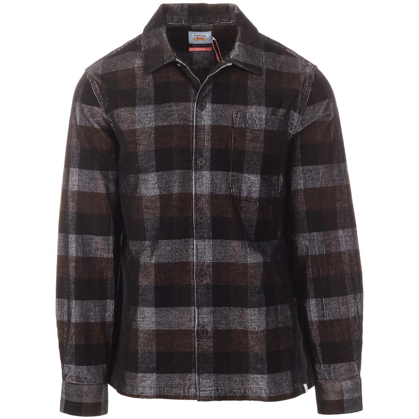 Wyman FARAH 100 Retro Mod LS Check Cord Shirt (DB)