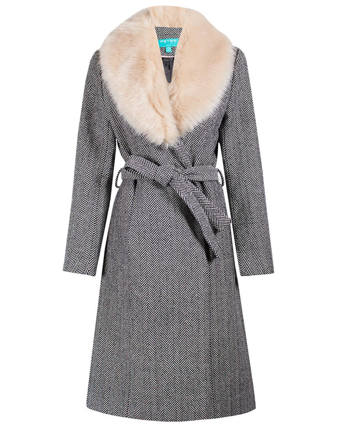 Enid Herringbone FEVER Retro Faux Fur Collar Coat