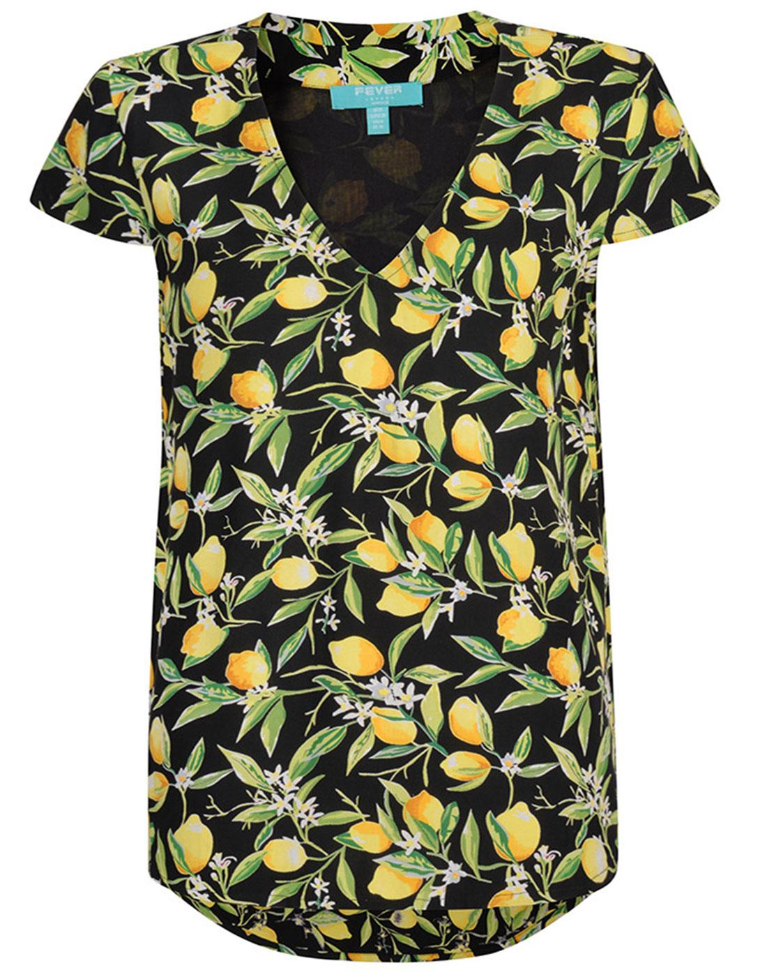 FEVER Retro Lemon Blosson V-Neck Summer Top